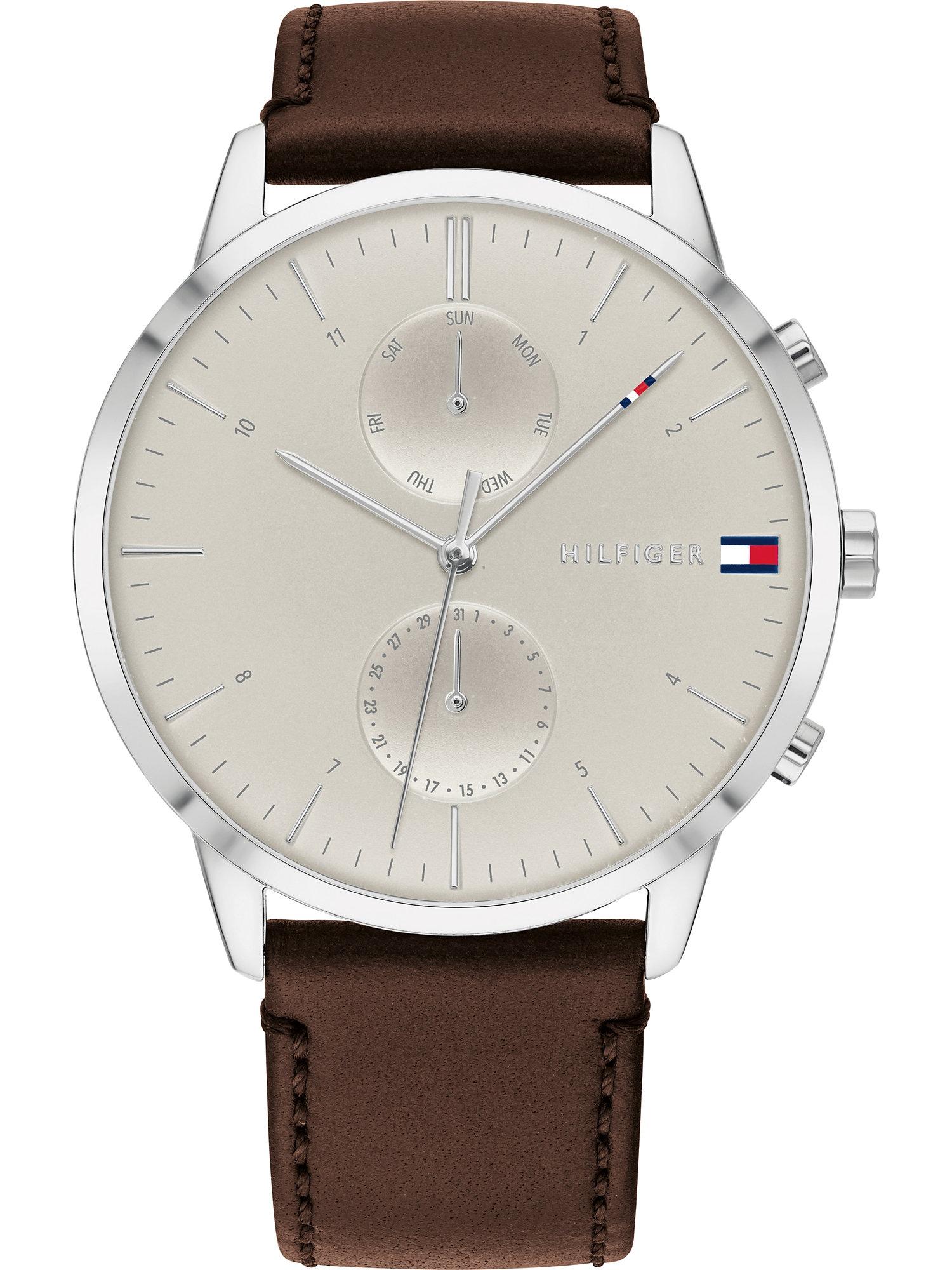 TOMMY HILFIGER Analoginis (įprasto dizaino) laikrodis kūno spalva / kaštoninė spalva / sidabrinė