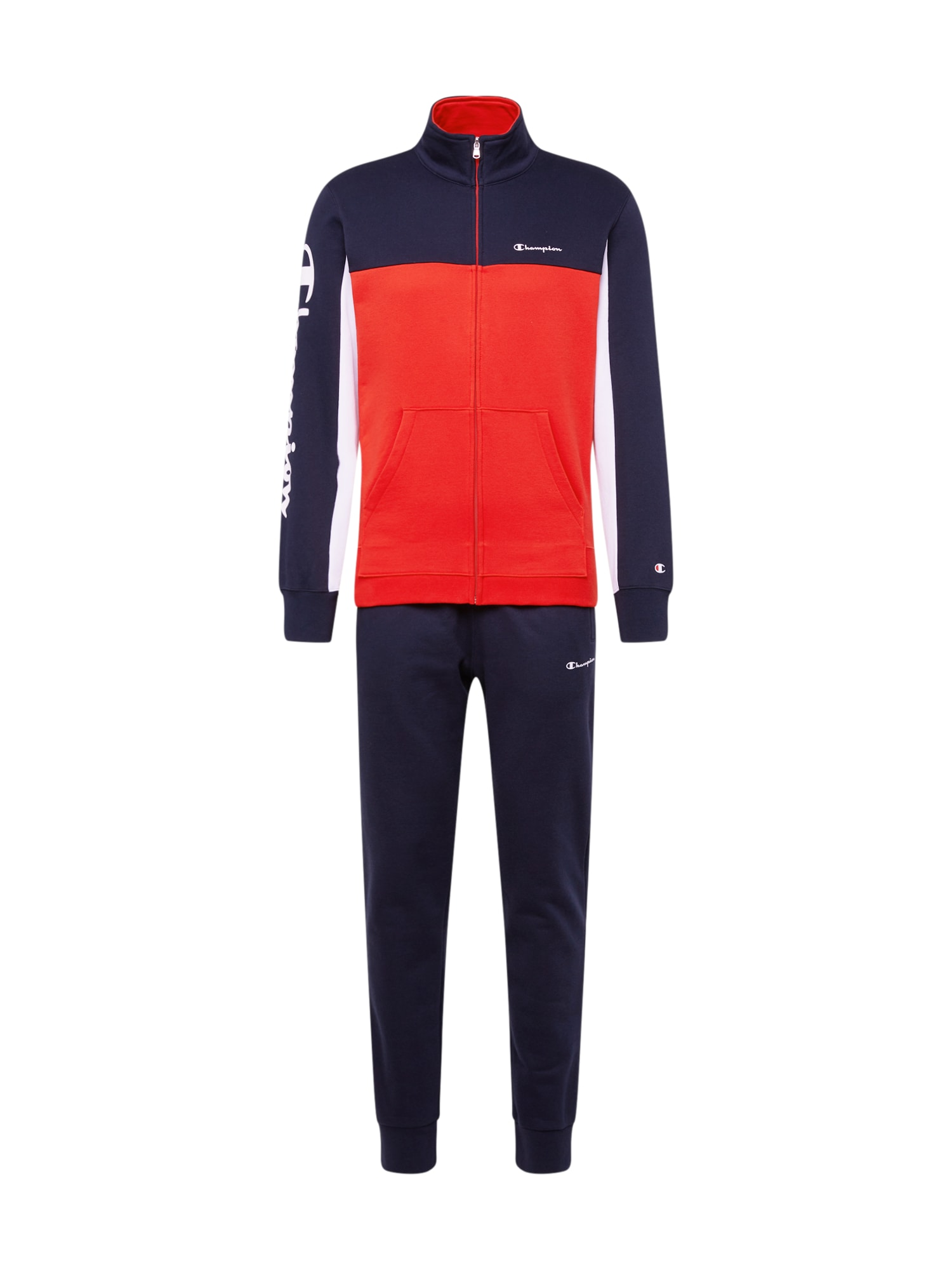 Champion Authentic Athletic Apparel Naminis kostiumas 'Full Zip Suit' tamsiai mėlyna / raudona / balta