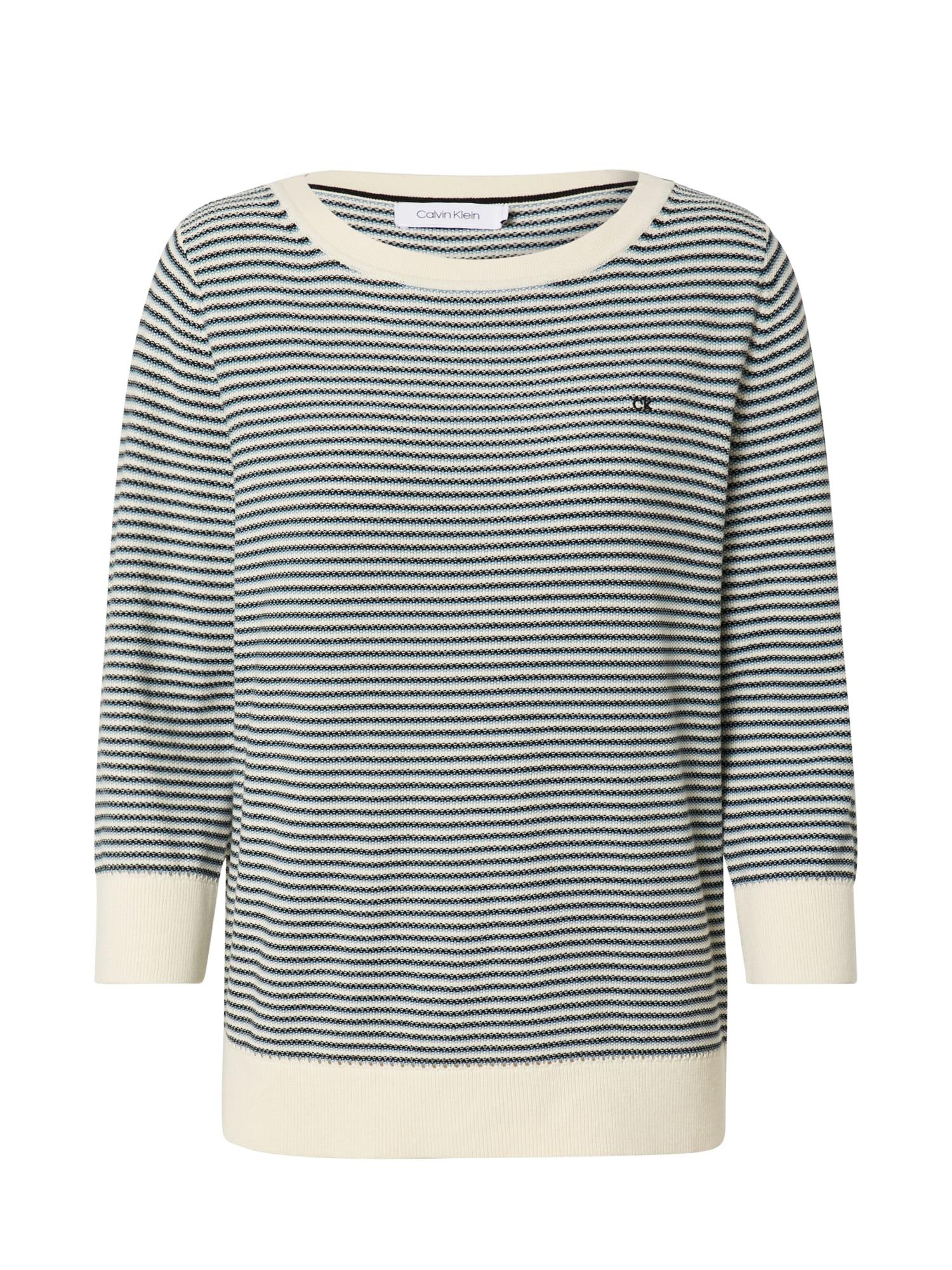 Calvin Klein Megztinis šviesiai mėlyna / balta / juoda