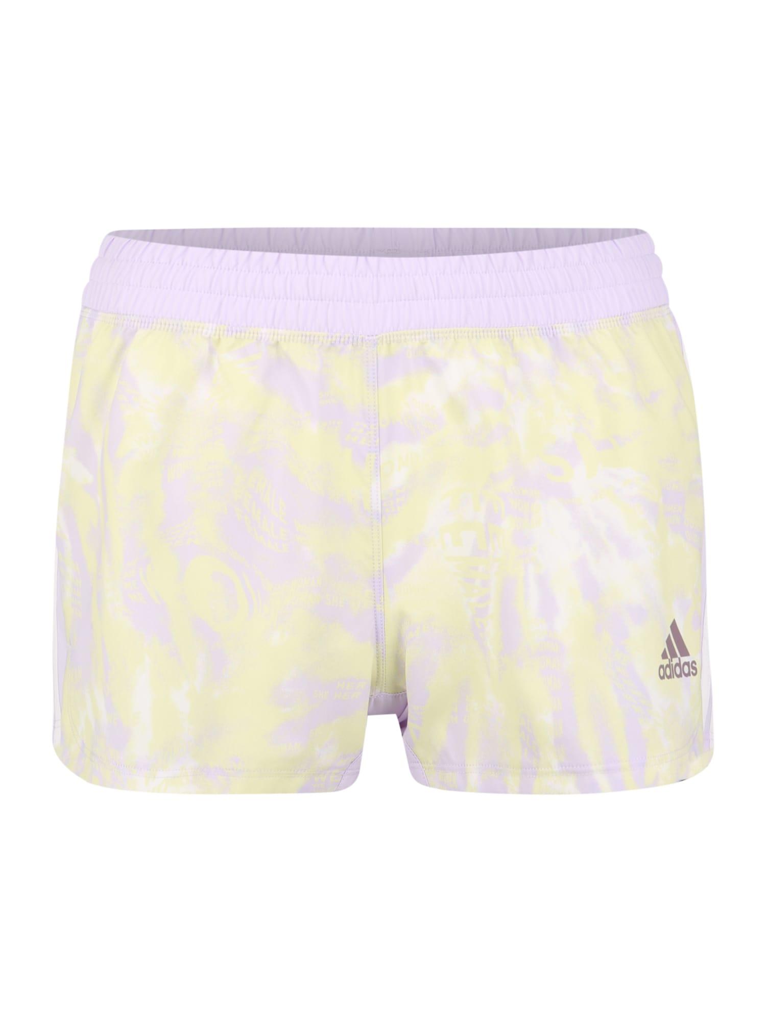 ADIDAS PERFORMANCE Sportinės kelnės pastelinė violetinė / pastelinė geltona / balta