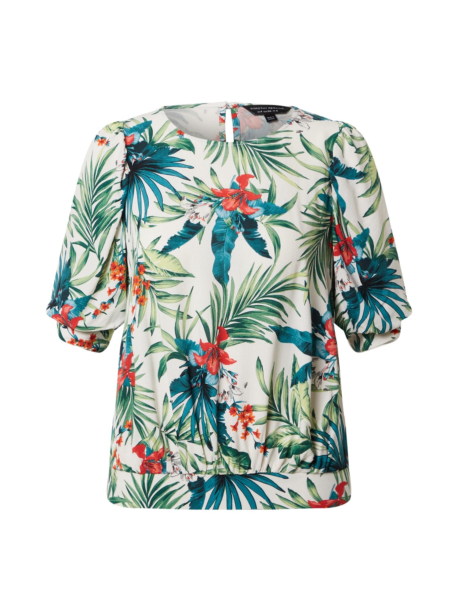 Dorothy Perkins Тениска слонова кост / петрол / зелено / карминено червено