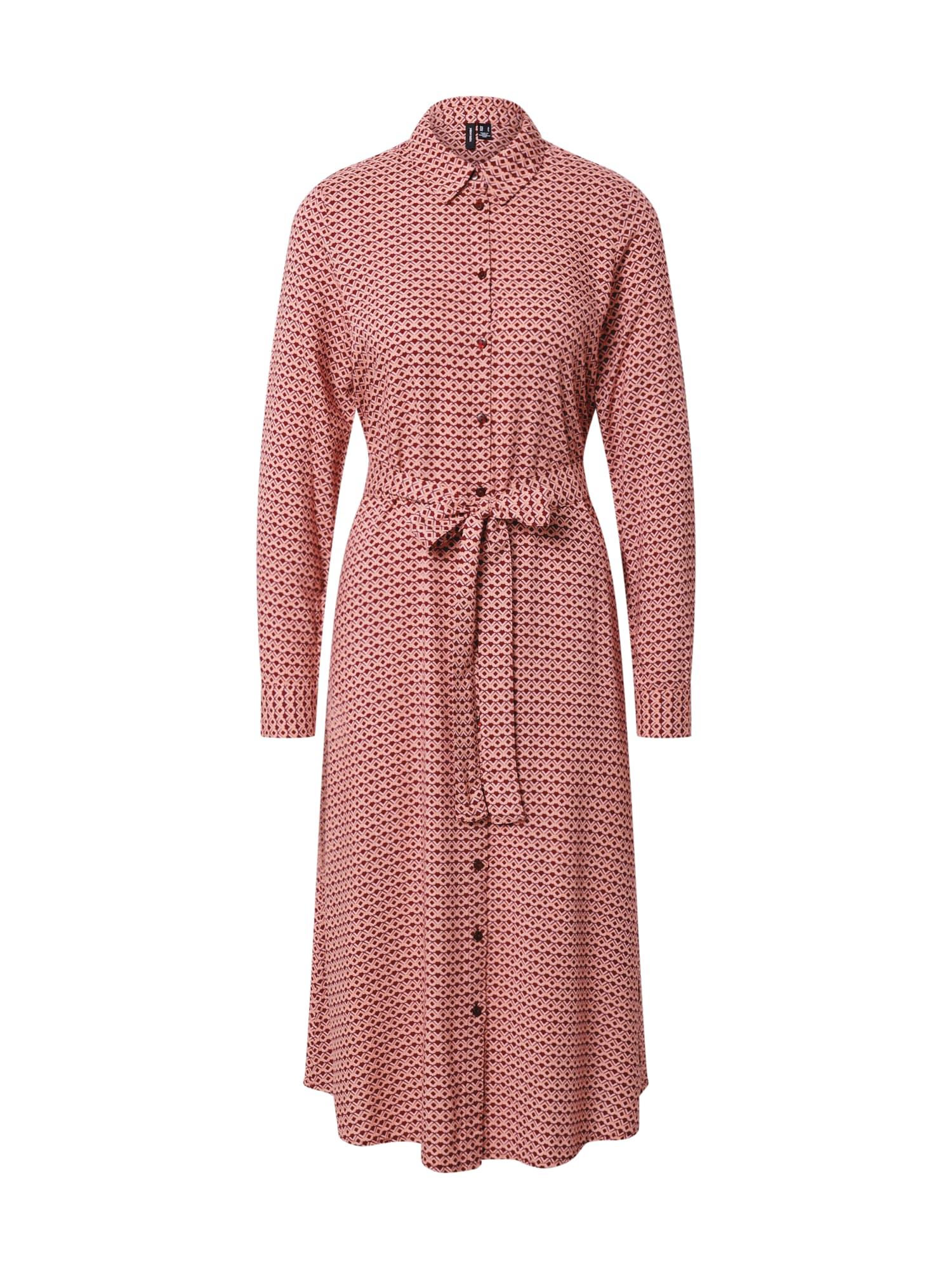 VERO MODA Košilové šaty 'Carmen'  vínově červená / růžová