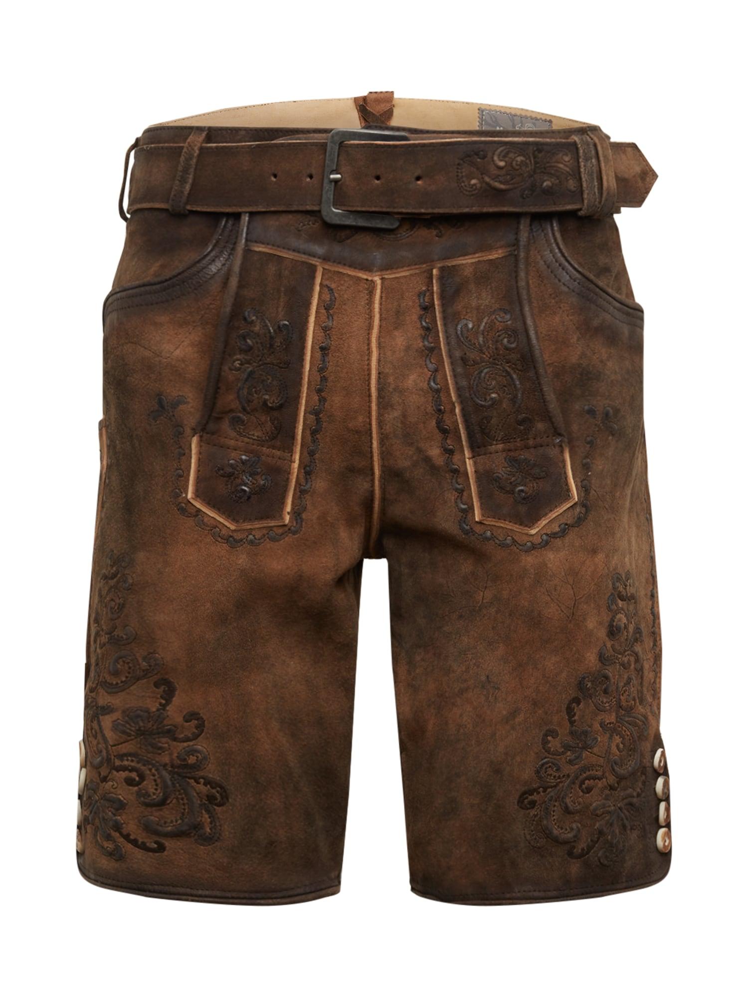 MARJO Kelnės su tradiciniais raštais '017 Anastasio' tamsiai ruda