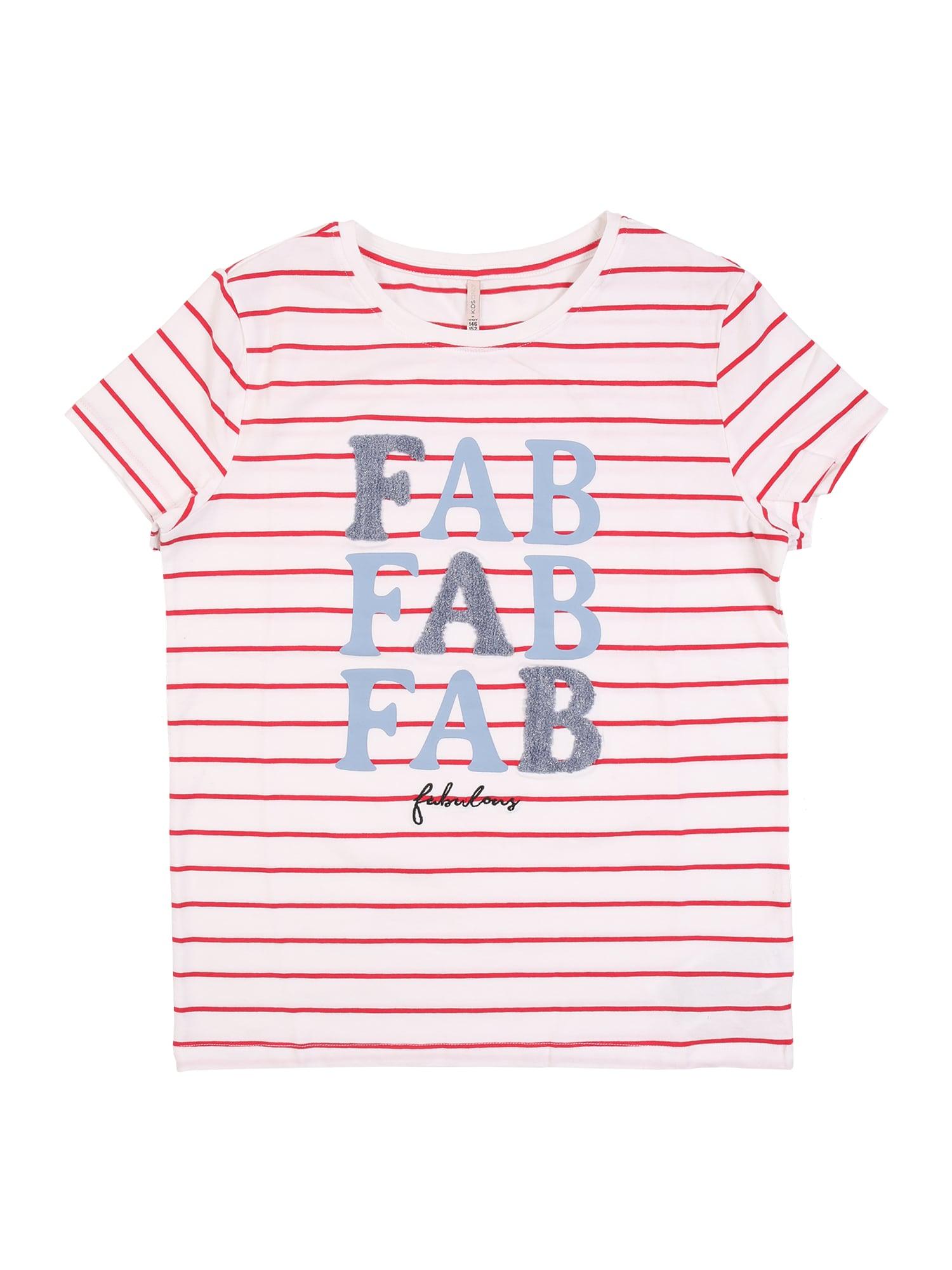KIDS ONLY Marškinėliai balta / šviesiai raudona / mėlyna dūmų spalva / juoda