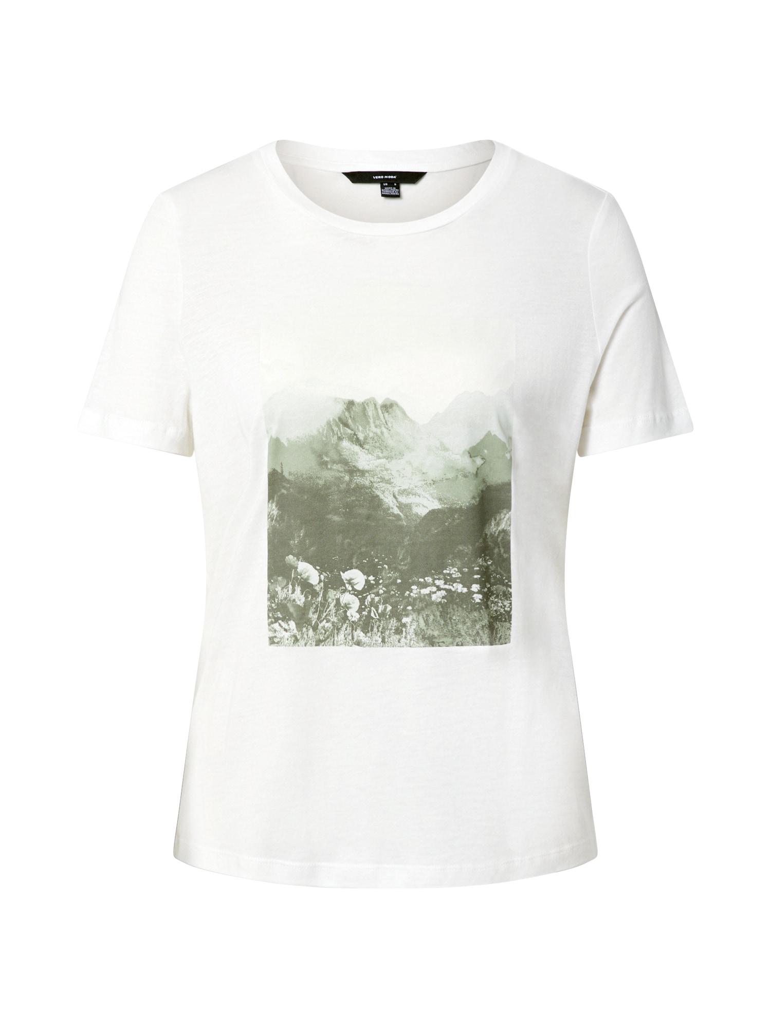 VERO MODA Tričko  bílá / khaki / světle zelená