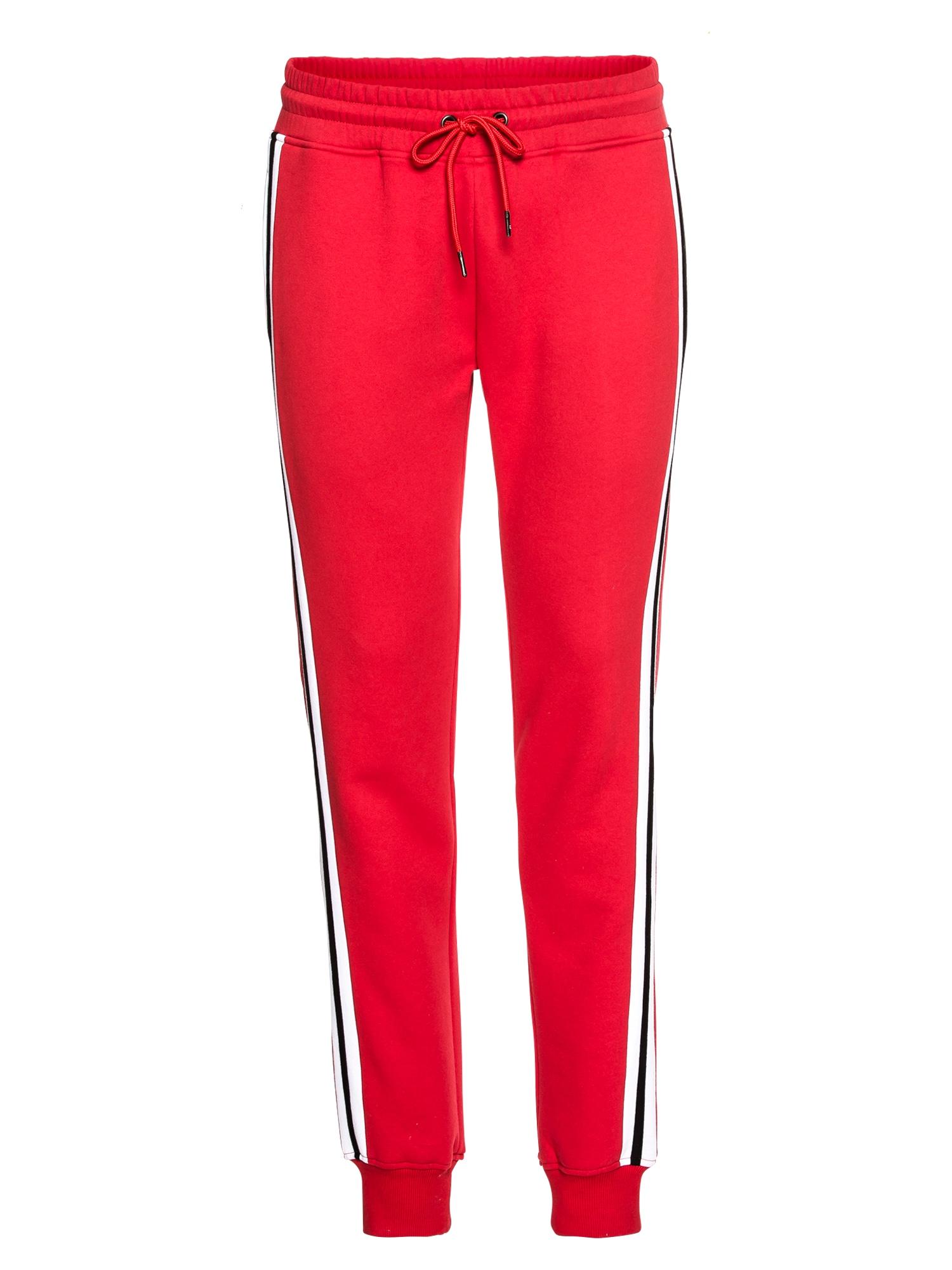 Urban Classics Kelnės '3-Tone Side Strip Terry Pants' tamsiai mėlyna / ugnies raudona / balta