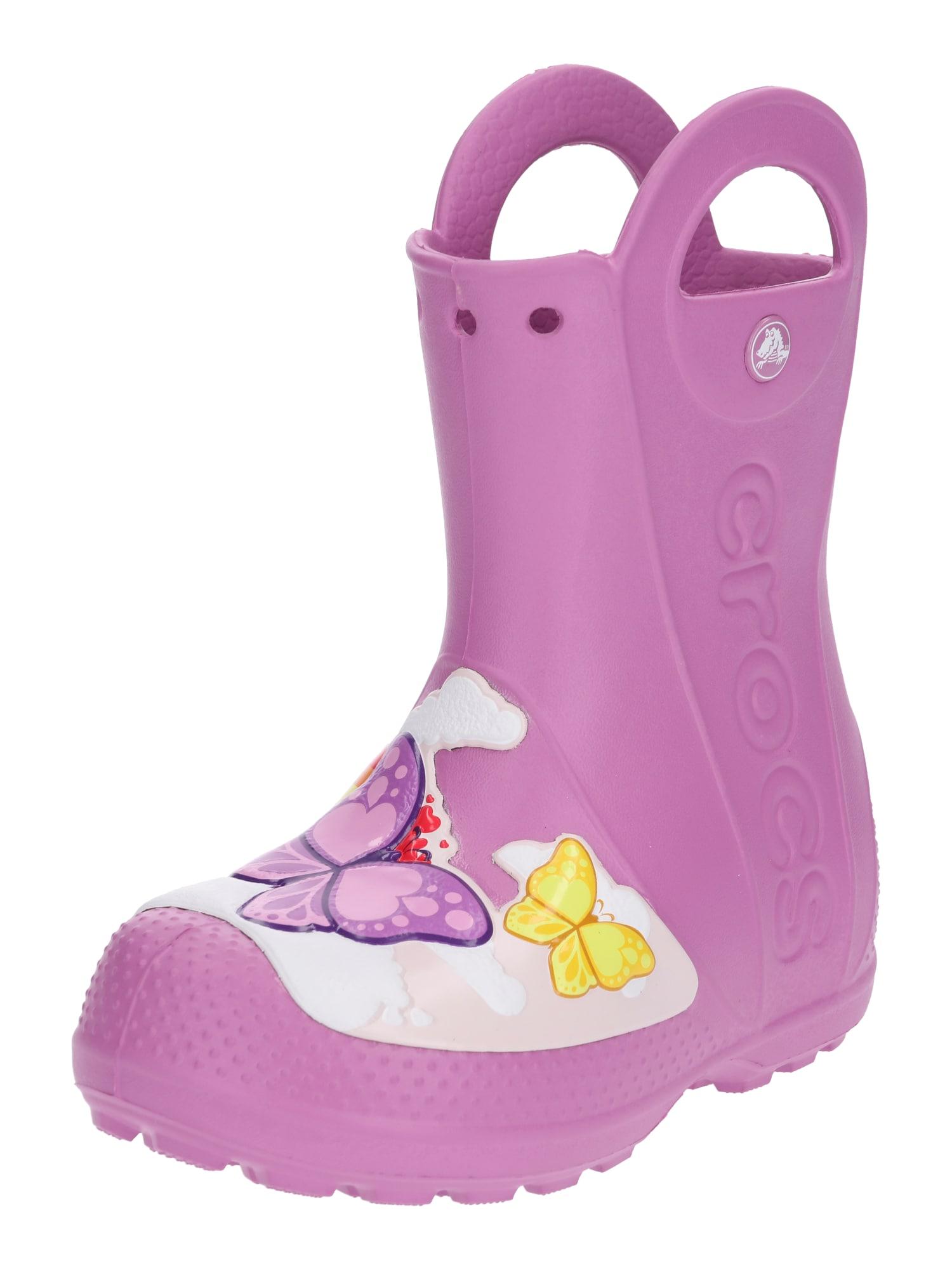 Gumové holínky Butterfly Rain Boot K bledě fialová mix barev Crocs