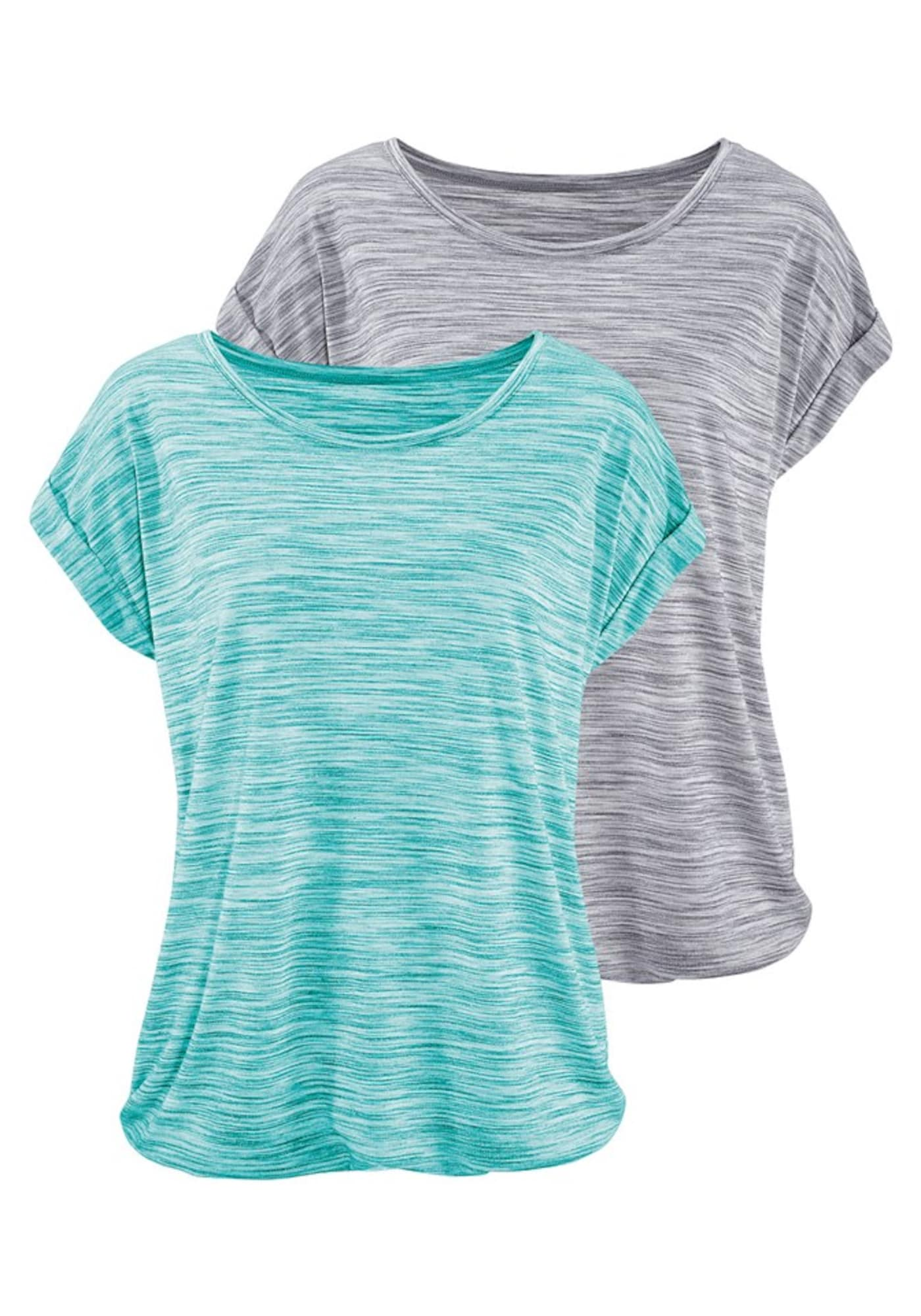 BEACH TIME Marškinėliai margai pilka / turkio spalva