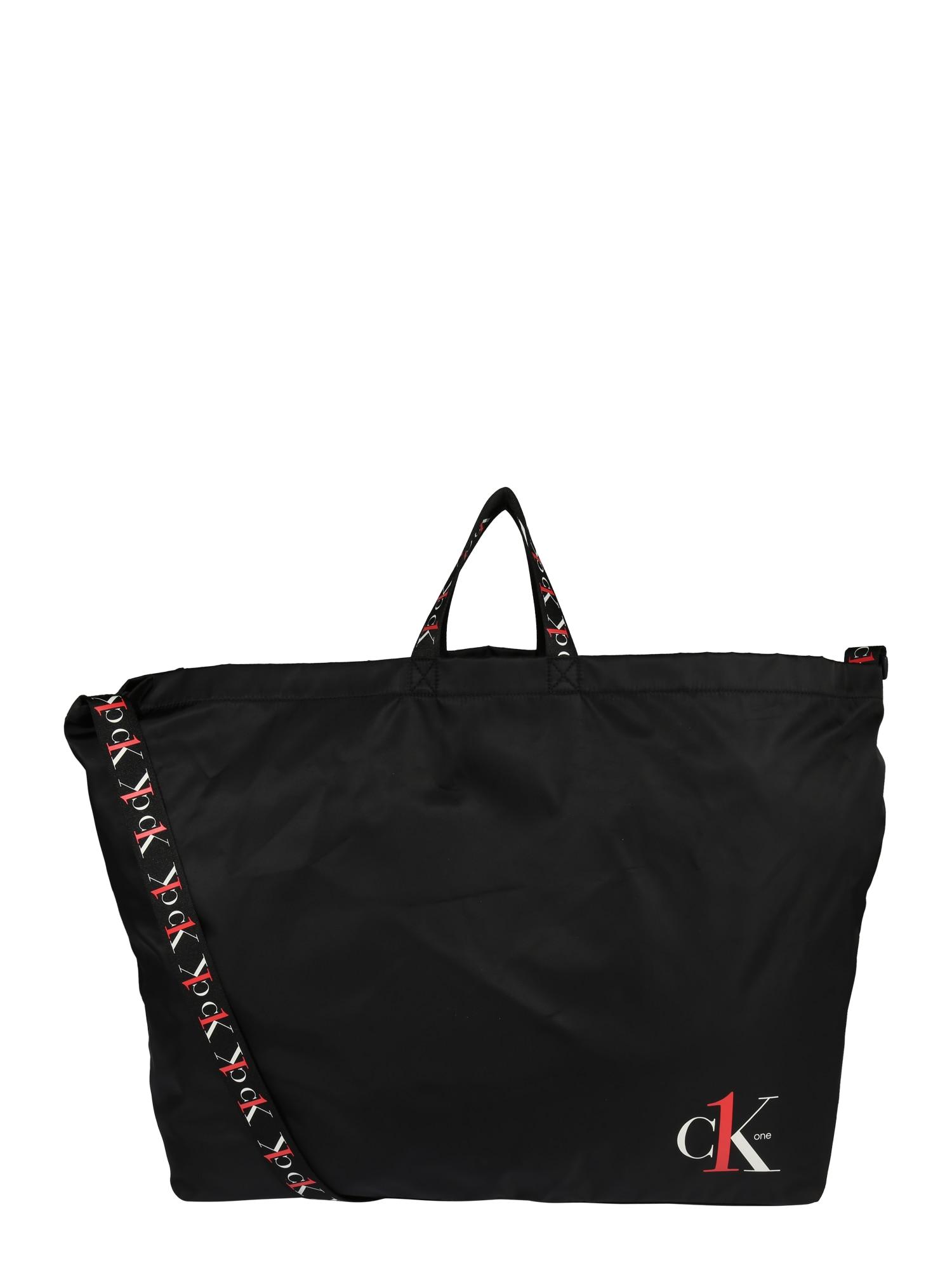 Calvin Klein Jeans Pirkinių krepšys 'CK1 XL SHOPPER TAPEALLOVER' balta / juoda / raudona