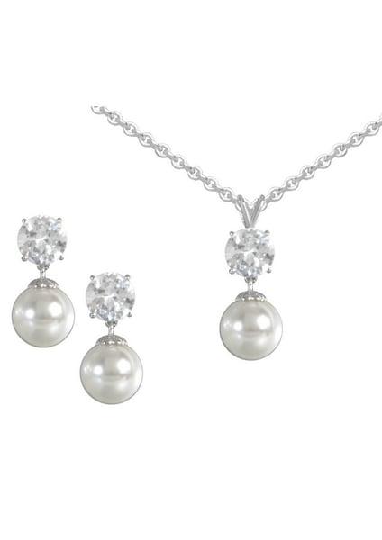 Schmucksets für Frauen - FIRETTI Ohrstecker und Halskette mit Perle und Zirkonia (4tlg.) silber  - Onlineshop ABOUT YOU