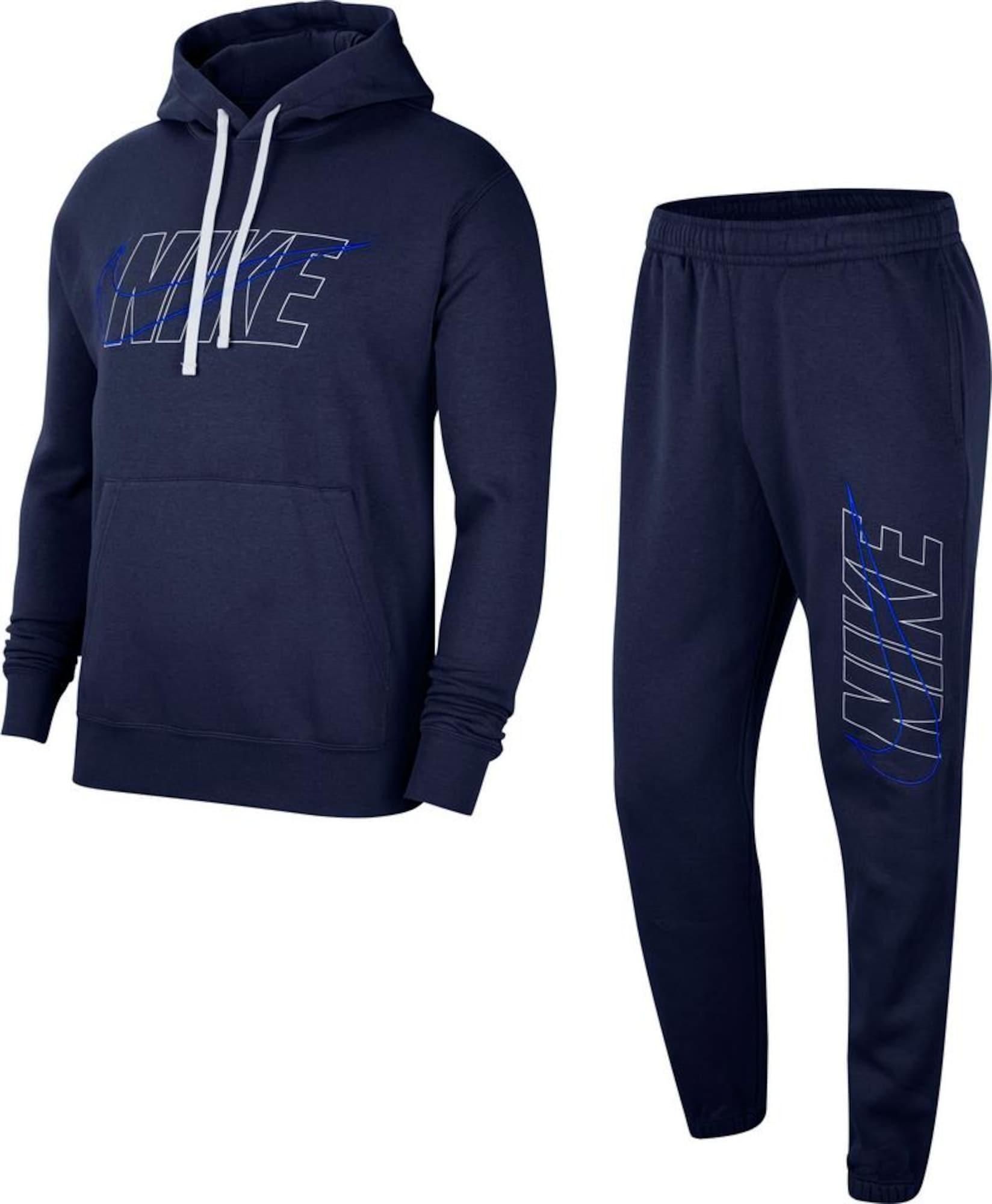 Nike Sportswear Treningas tamsiai mėlyna jūros spalva / balta