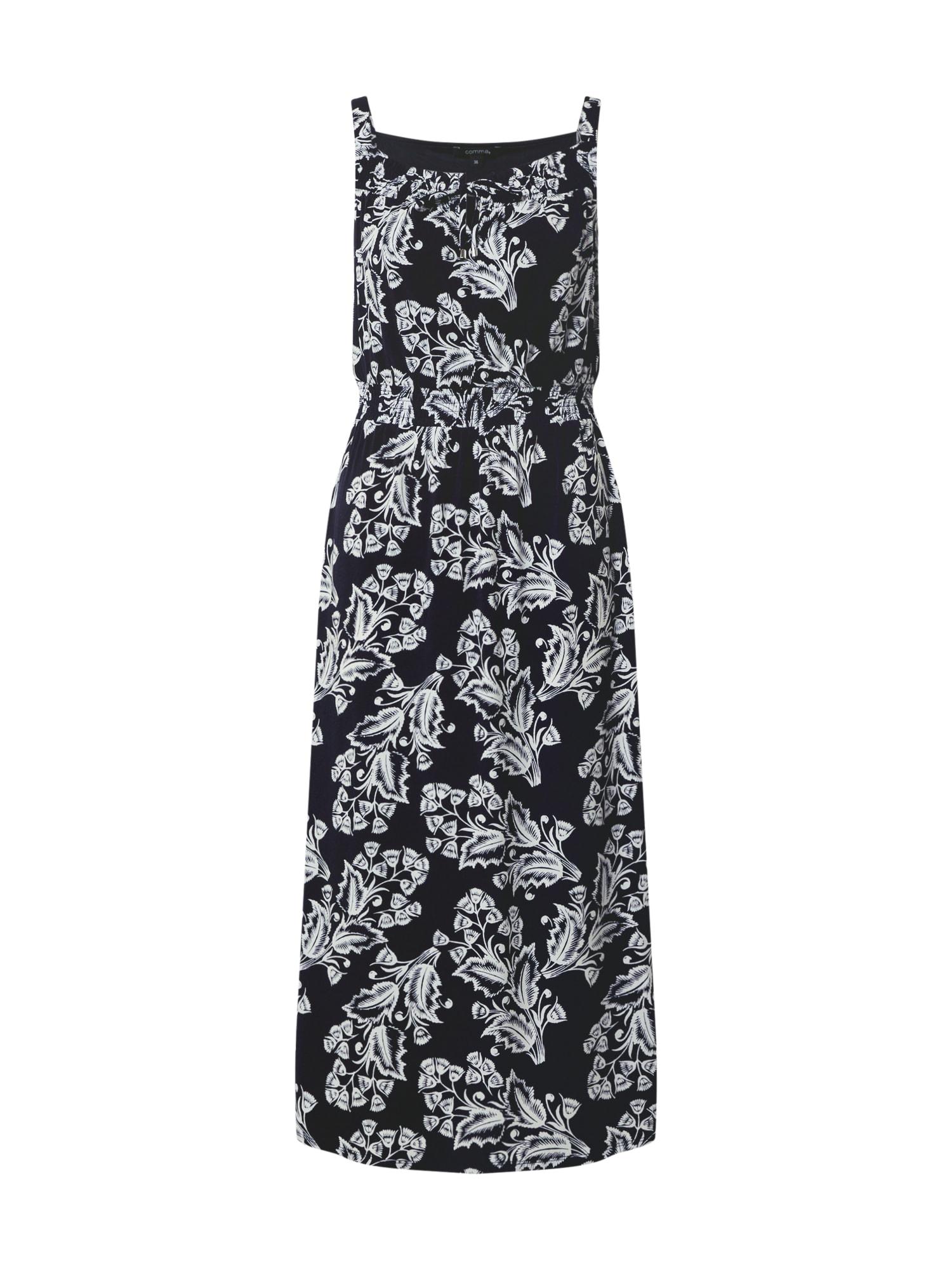 COMMA Suknelė balta / tamsiai mėlyna jūros spalva
