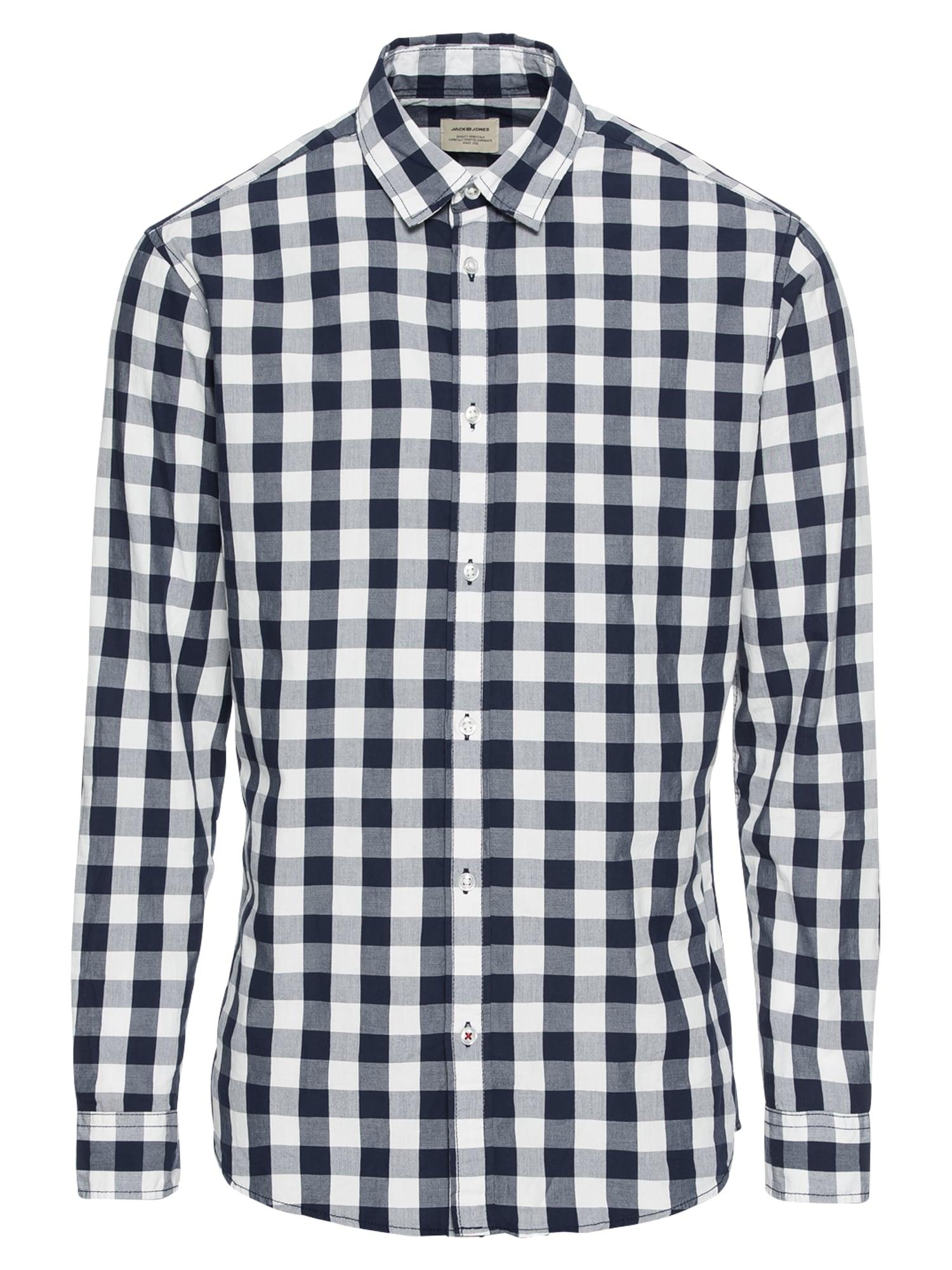 JACK & JONES Dalykiniai marškiniai 'JJEGINGHAM SHIRT L/S' balta / nakties mėlyna