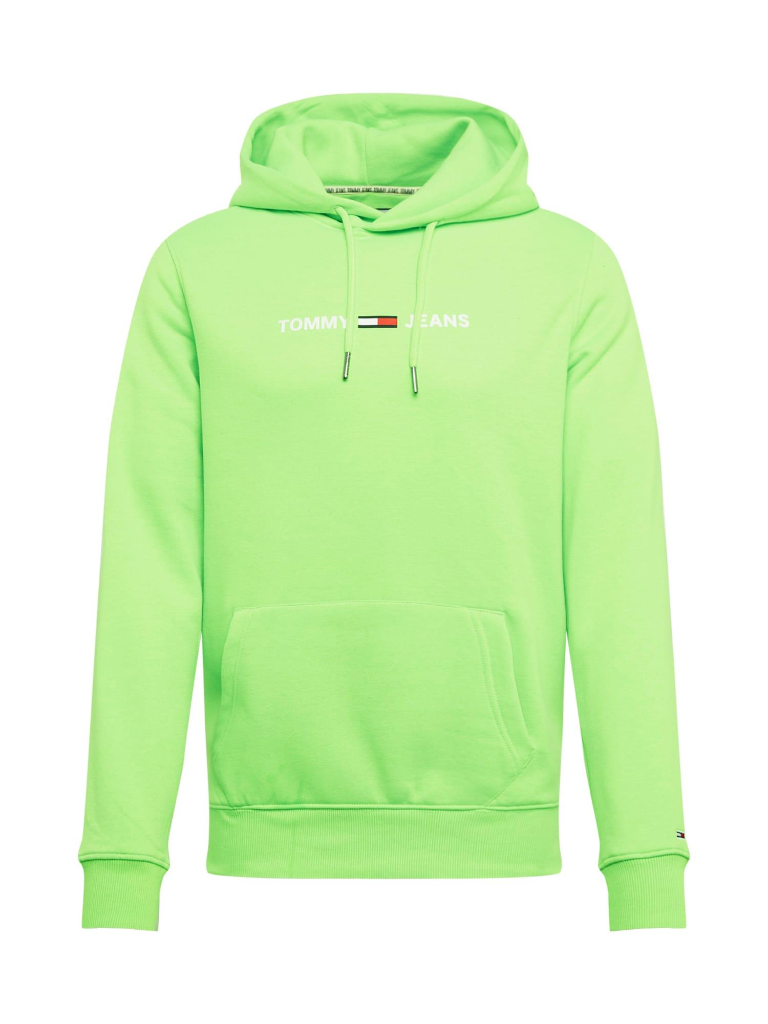 Herren Tommy Jeans Sweatshirt 'TJM NEON SMALL LOGO HOODIE' grün   08719861403654