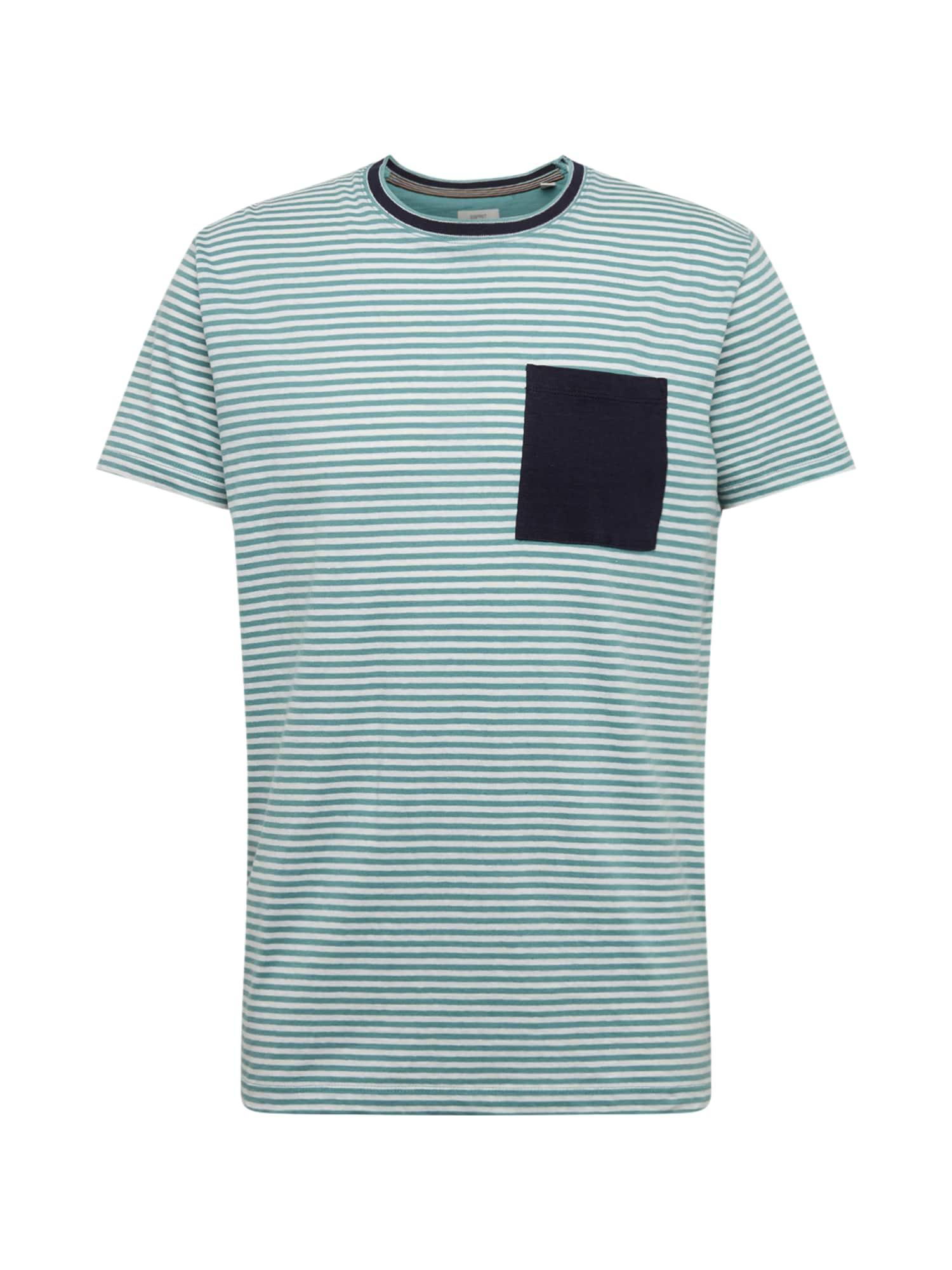 ESPRIT Marškinėliai vandens spalva / balta / tamsiai mėlyna