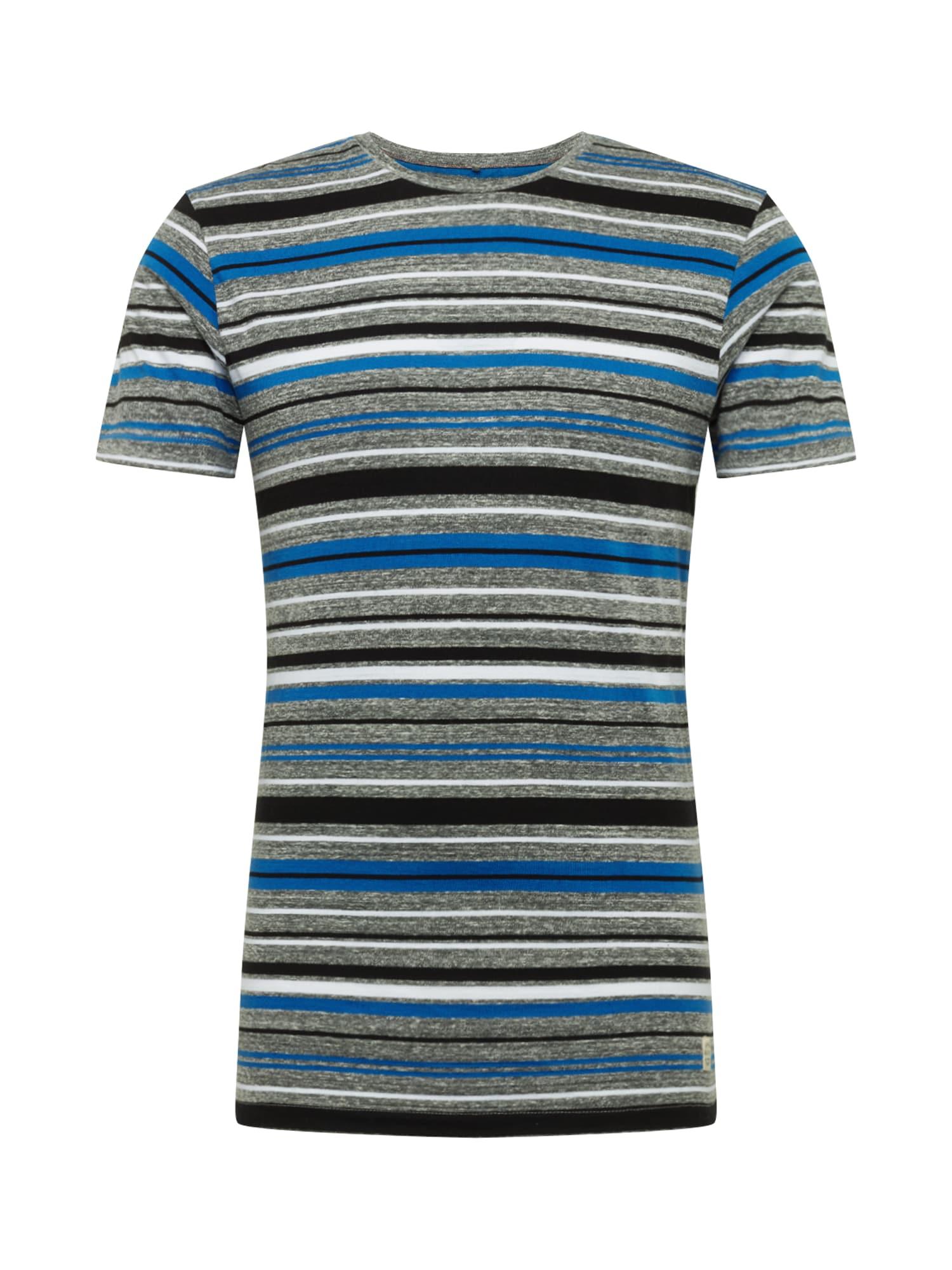 BLEND Marškinėliai mėlyna / pilka