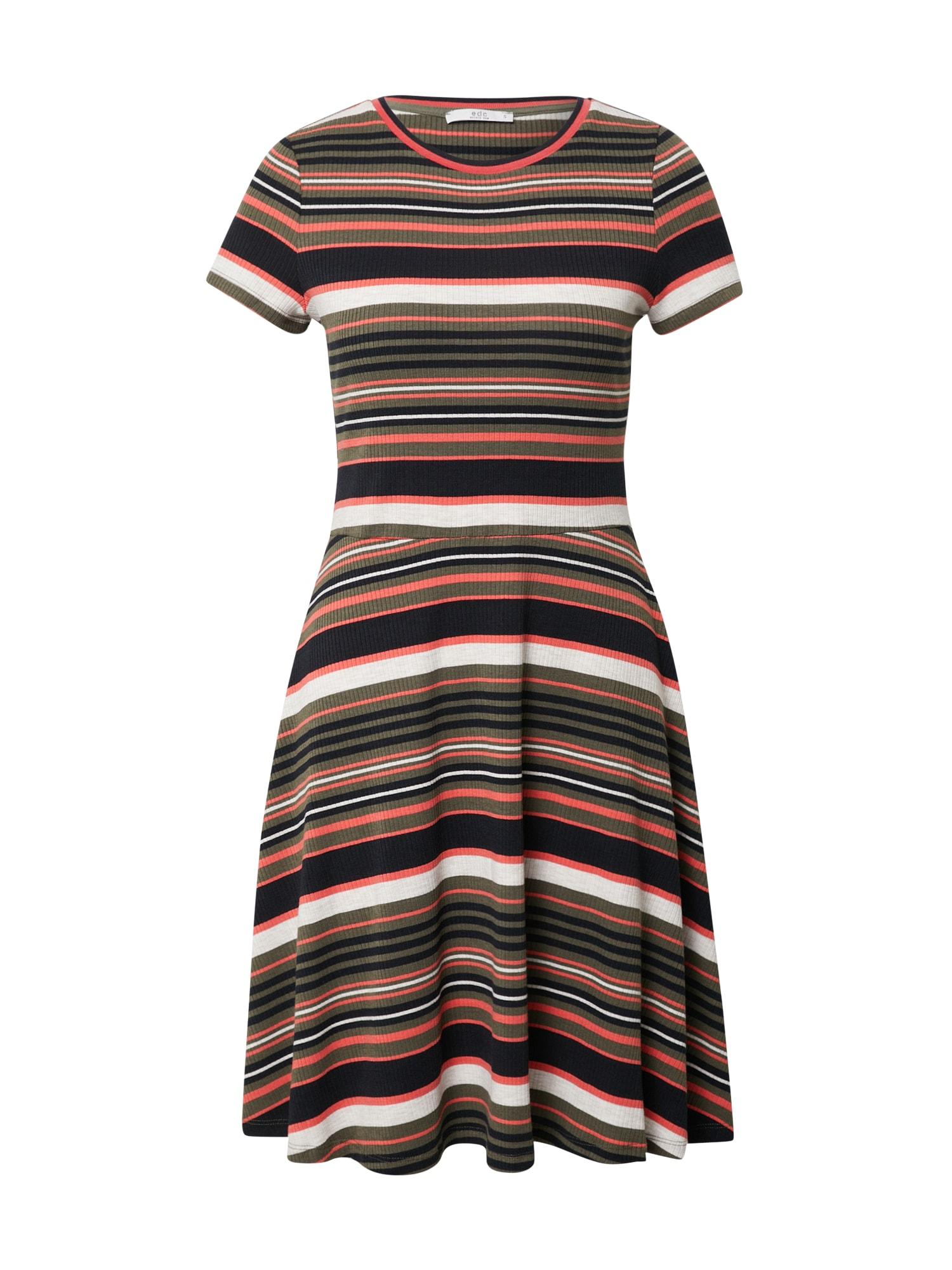 EDC BY ESPRIT Suknelė omarų spalva / rusvai žalia / juoda / balta