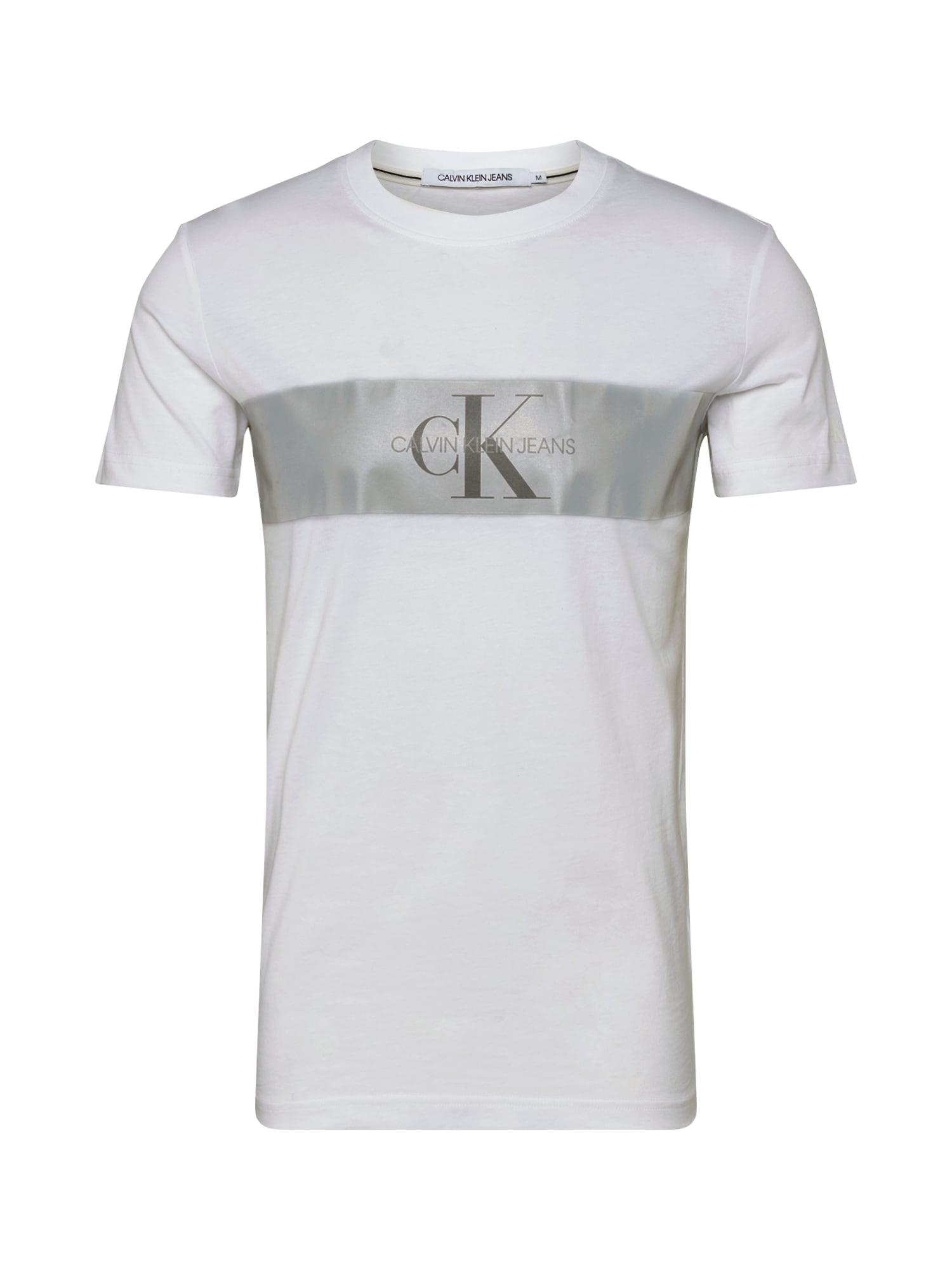 Calvin Klein Marškinėliai 'REFLECT STRIPE MONOG' balta