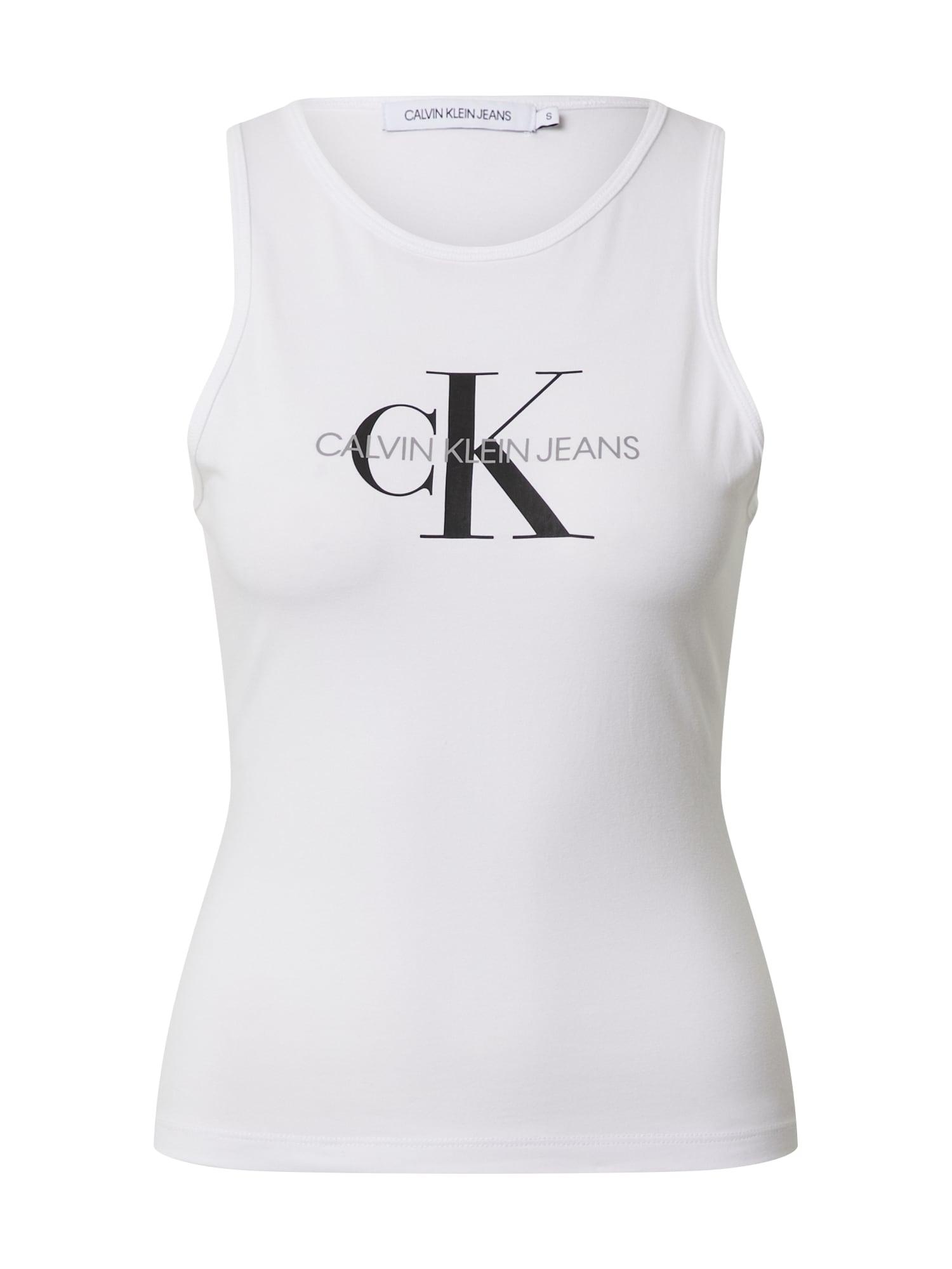 Calvin Klein Jeans Palaidinė be rankovių margai juoda / balta