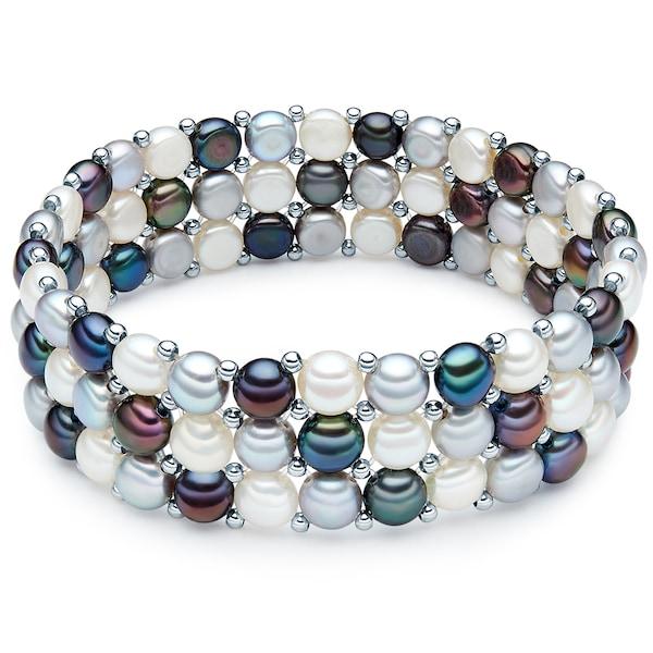 Armbaender für Frauen - Valero Pearls Modeschmuckarmband mit Süßwasser Zuchtperle hellgrau petrol weiß  - Onlineshop ABOUT YOU