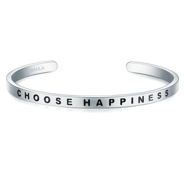 Armbaender für Frauen - Nahla Jewels Armband mit Schriftzug CHOOSE HAPPINESS silber  - Onlineshop ABOUT YOU