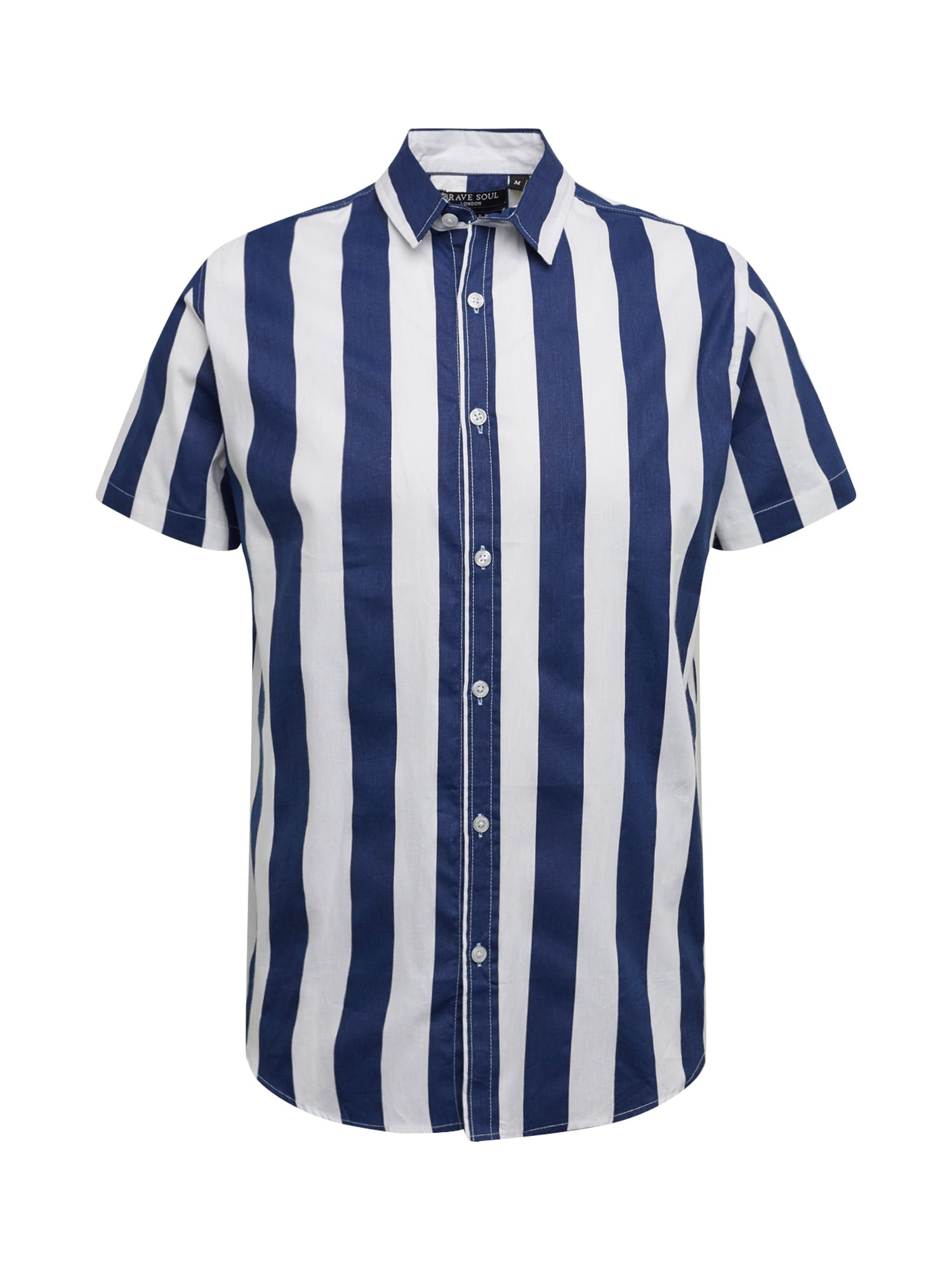 BRAVE SOUL Dalykiniai marškiniai balta / tamsiai mėlyna