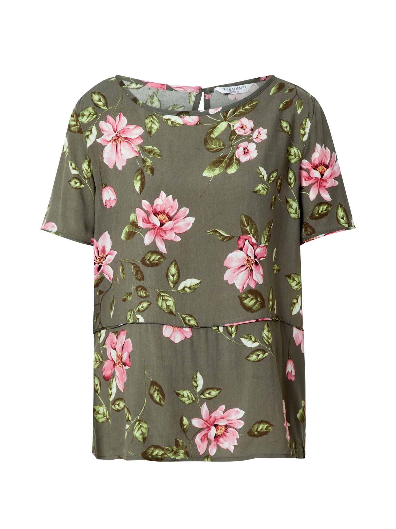 ZABAIONE Halenka 'June'  khaki / růžová / trávově zelená / bílá