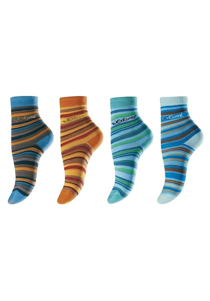 Socken für Frauen - S.Oliver RED LABEL Ringelsocken (4 Paar) blau grün orange bordeaux  - Onlineshop ABOUT YOU