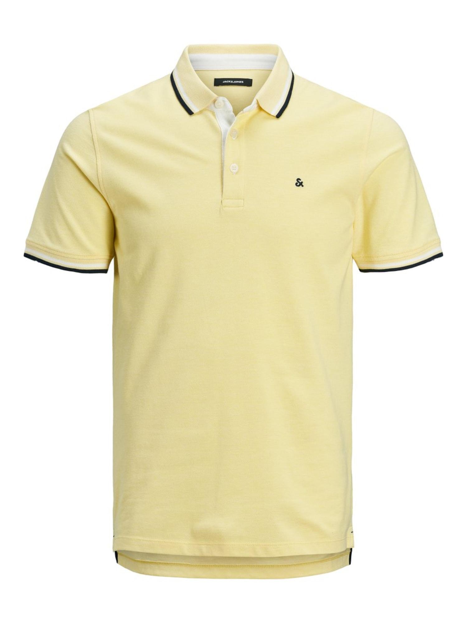 JACK & JONES Marškinėliai margai balta / juoda / šviesiai geltona