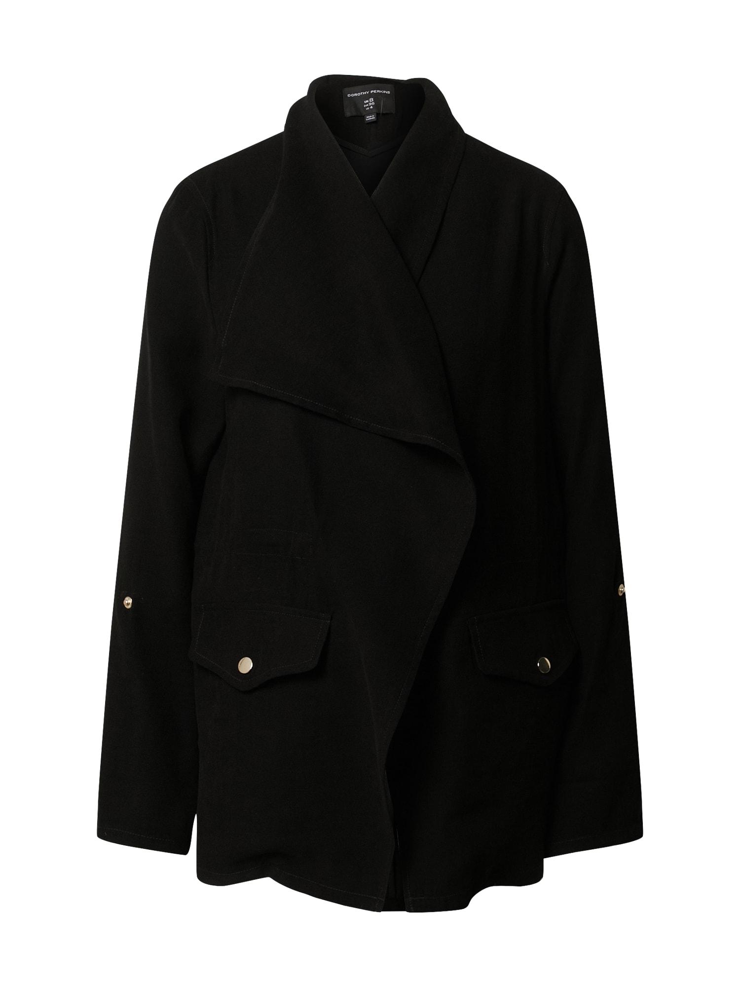Dorothy Perkins Demisezoninė striukė 'Black Waterfall Jacket' juoda