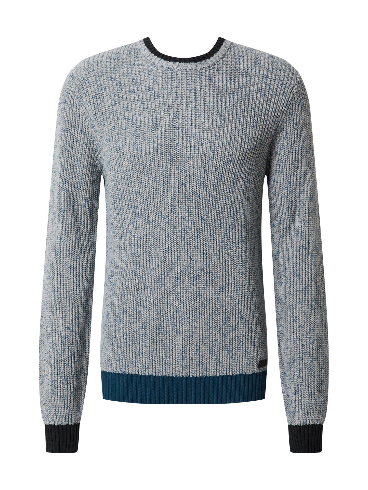 BLEND Megztinis pilka / benzino spalva / juoda