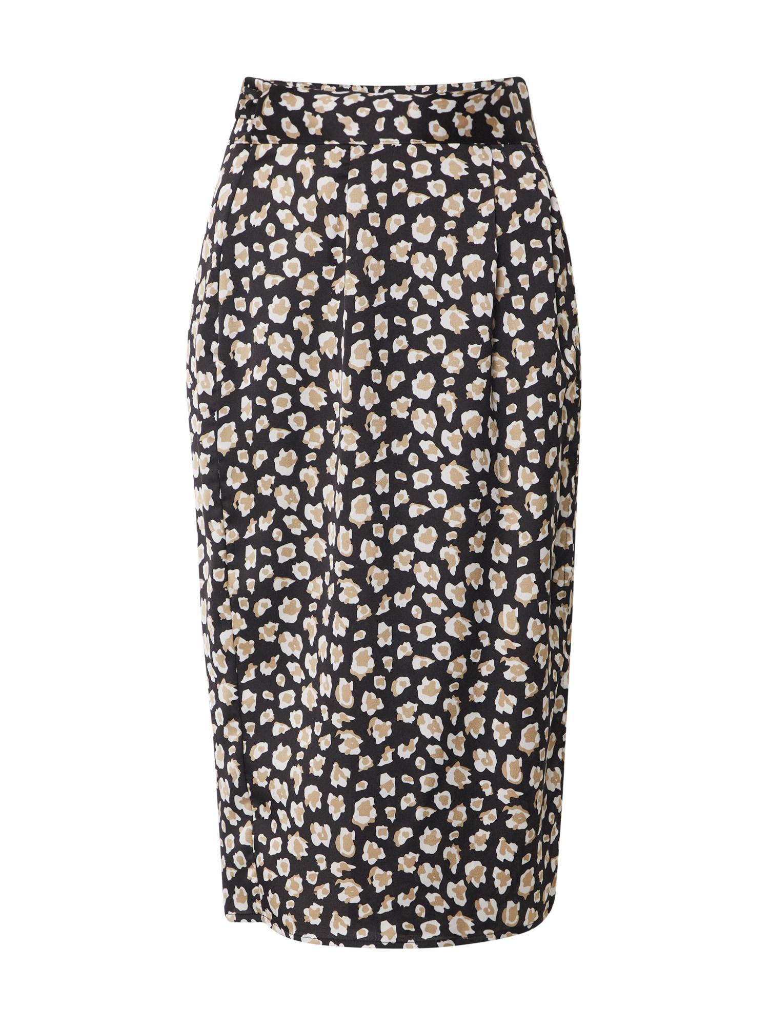 Boohoo Sijonas 'Smudge Print Belted Midi Skirt' smėlio / juoda