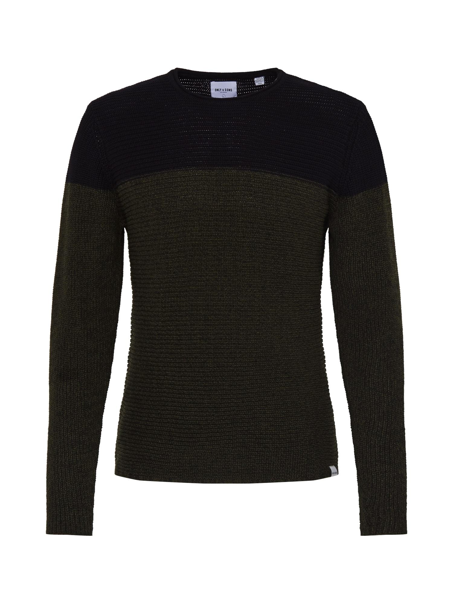 Only & Sons Megztinis juoda / tamsiai žalia