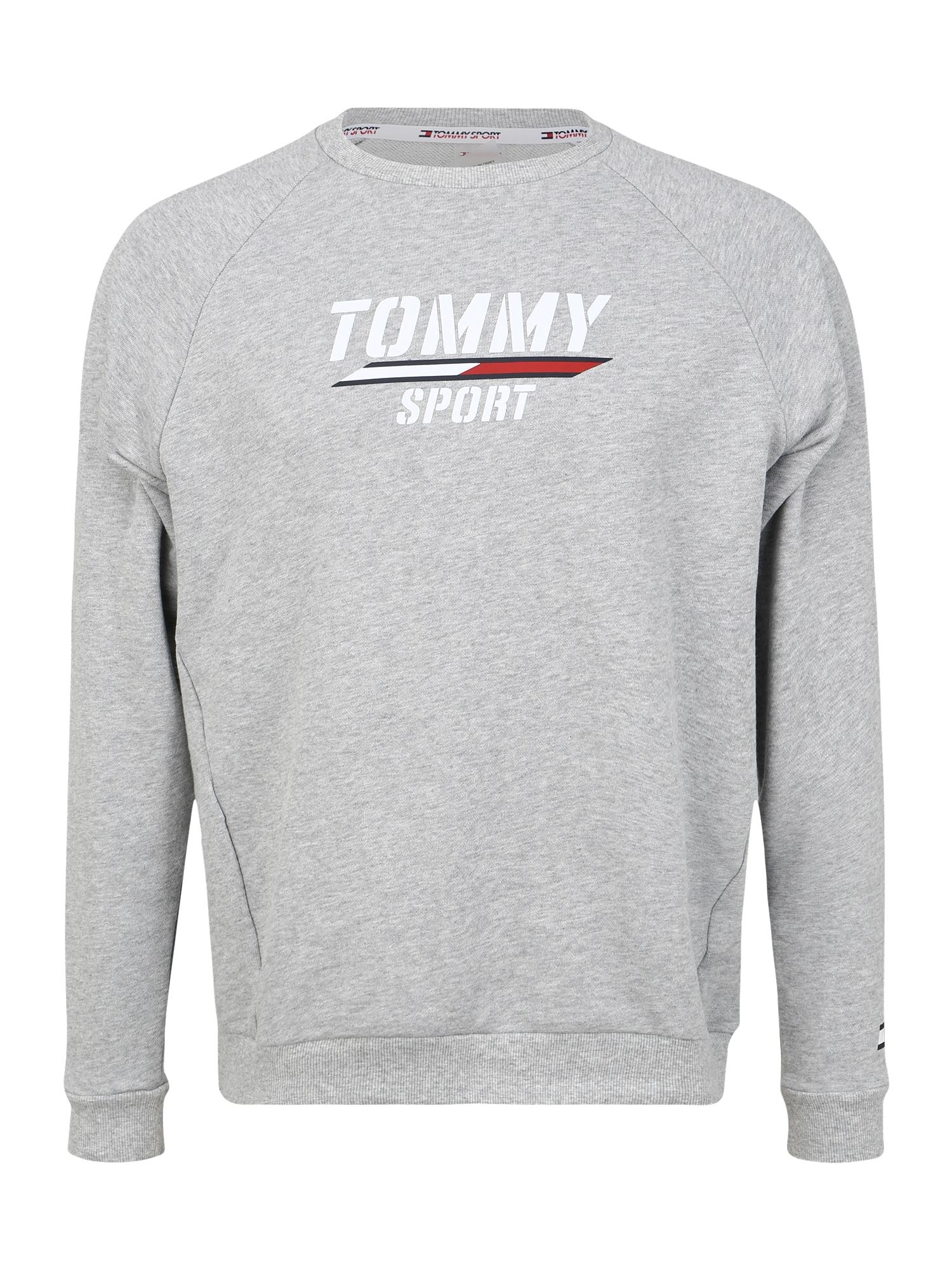 Tommy Sport Sportinio tipo megztinis šviesiai pilka / balta