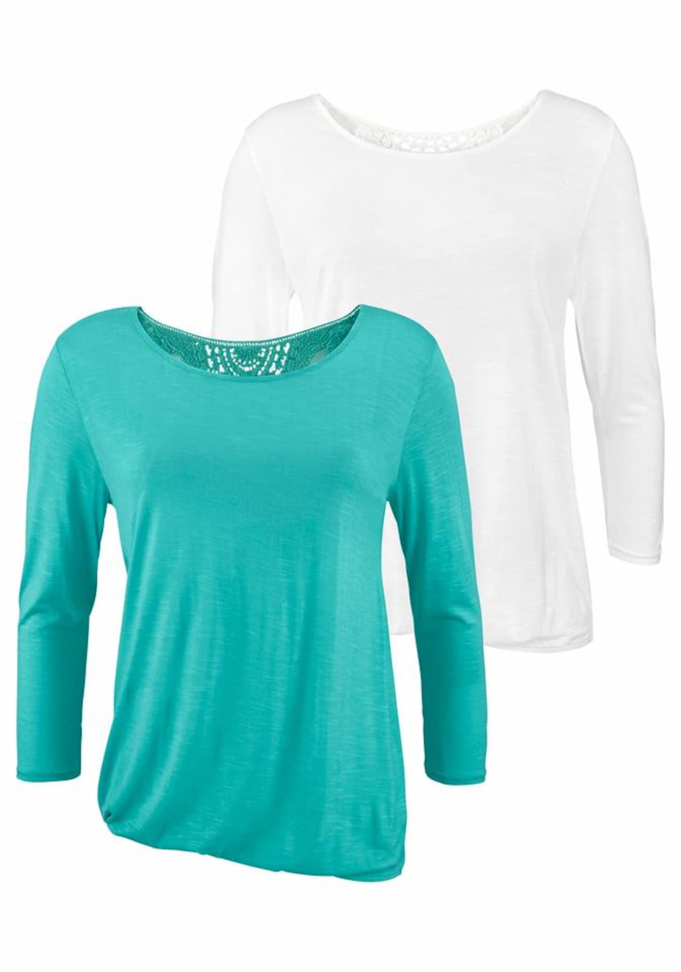 BEACH TIME Marškinėliai balta / turkio spalva
