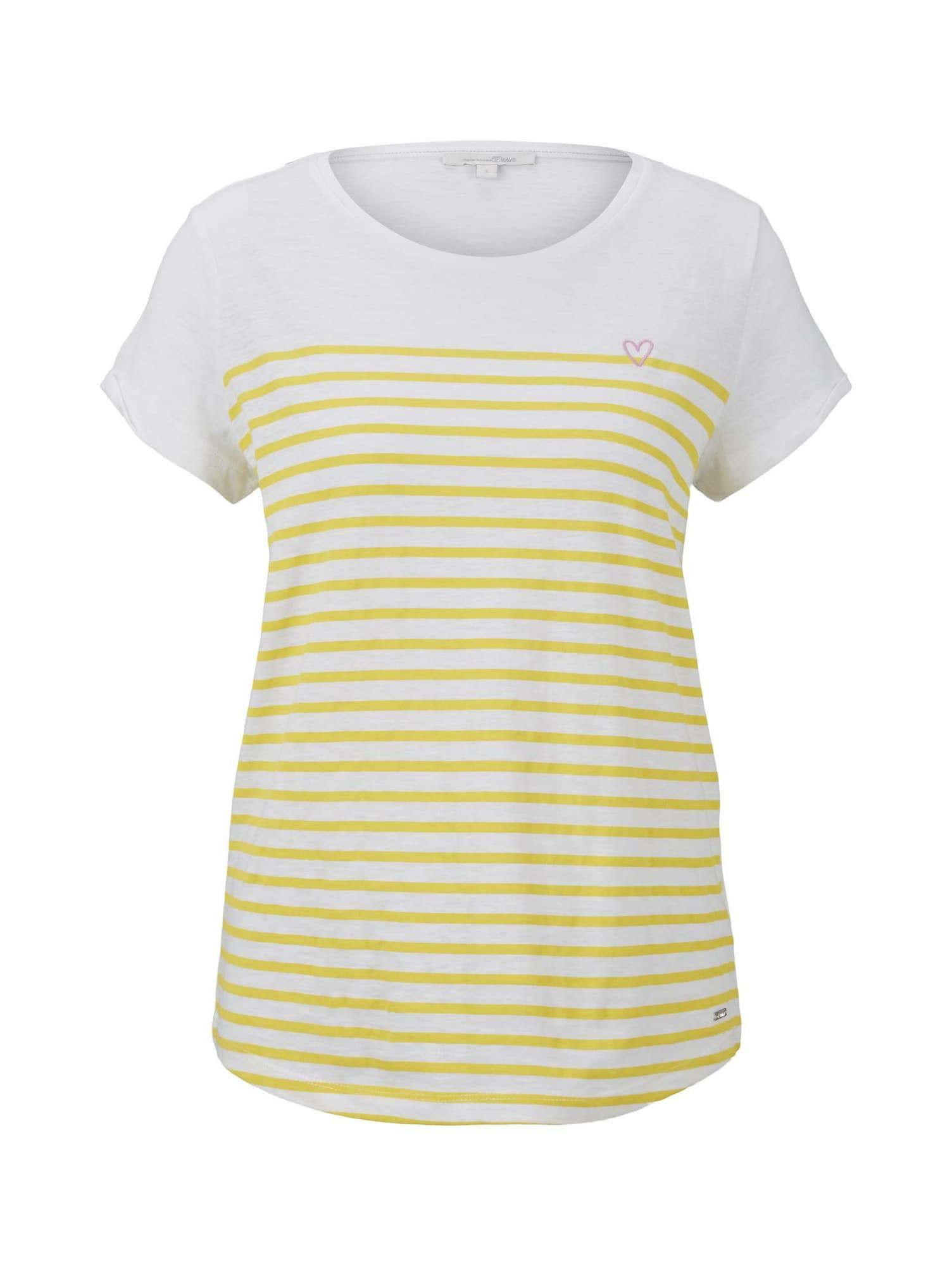 TOM TAILOR DENIM Tričko  biela / žltá