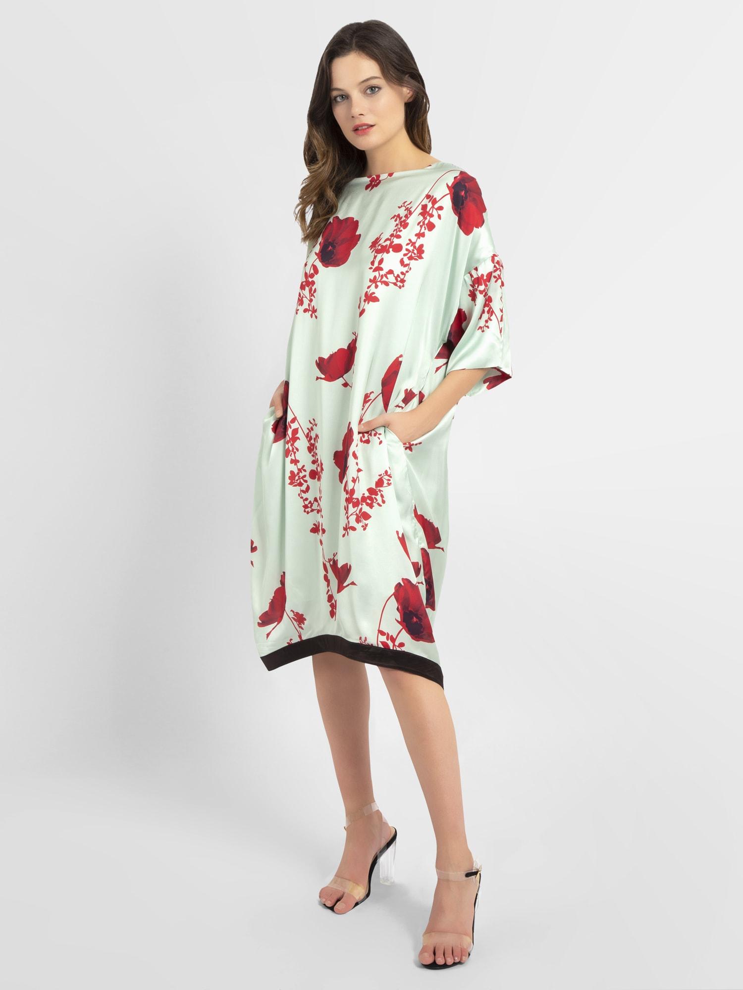 APART Kleid azur / pastellrot / schwarz - Schwarzes Kleid