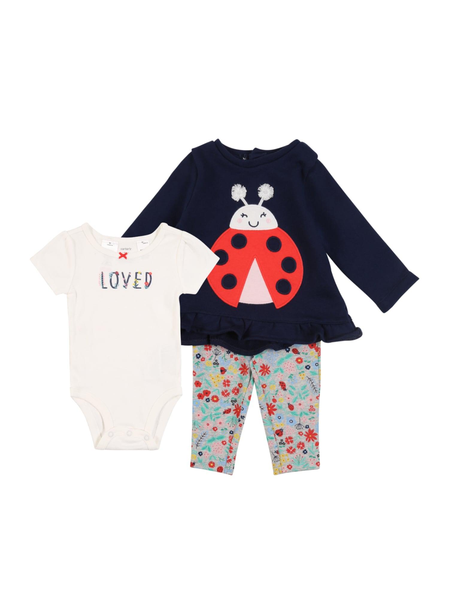 Carter's Rinkinys 'Collection 1 S20 G C1 3PC Ladybug' tamsiai mėlyna / raudona / šviesiai mėlyna / balta