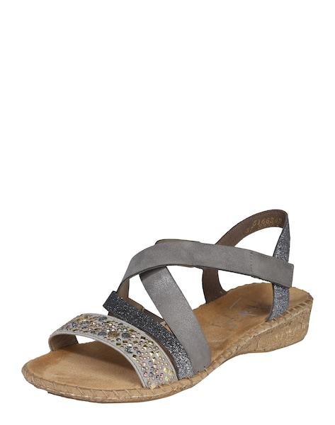 Sandalen für Frauen - Sandalen mit Nietenbesatz 'Cross' › RIEKER › grau  - Onlineshop ABOUT YOU
