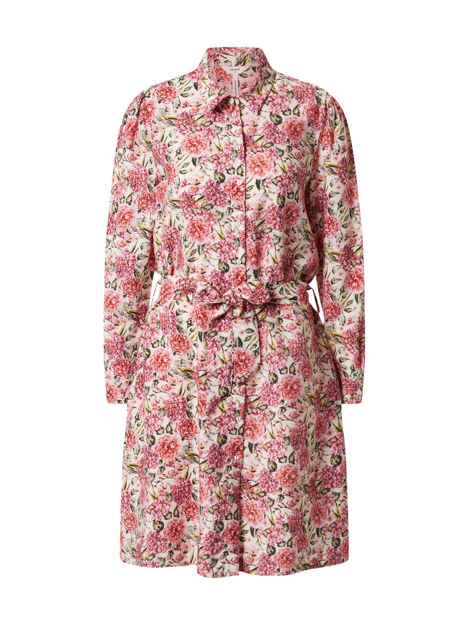 OBJECT Košeľové šaty 'OBJTILLI ELENORA L/S SHIRT DRESS PB8'  červené / biela / ružová