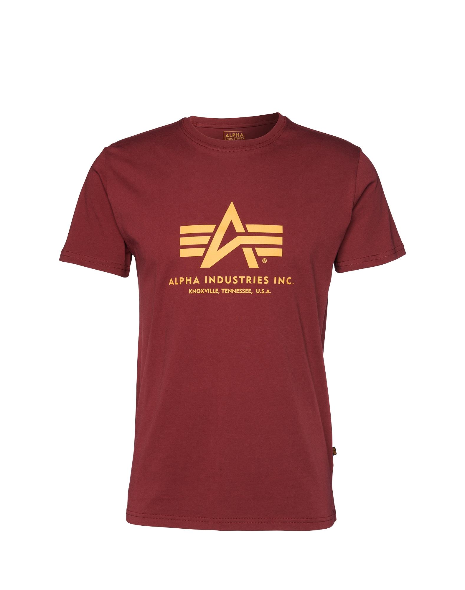 ALPHA INDUSTRIES Marškinėliai aukso geltonumo spalva / tamsiai raudona