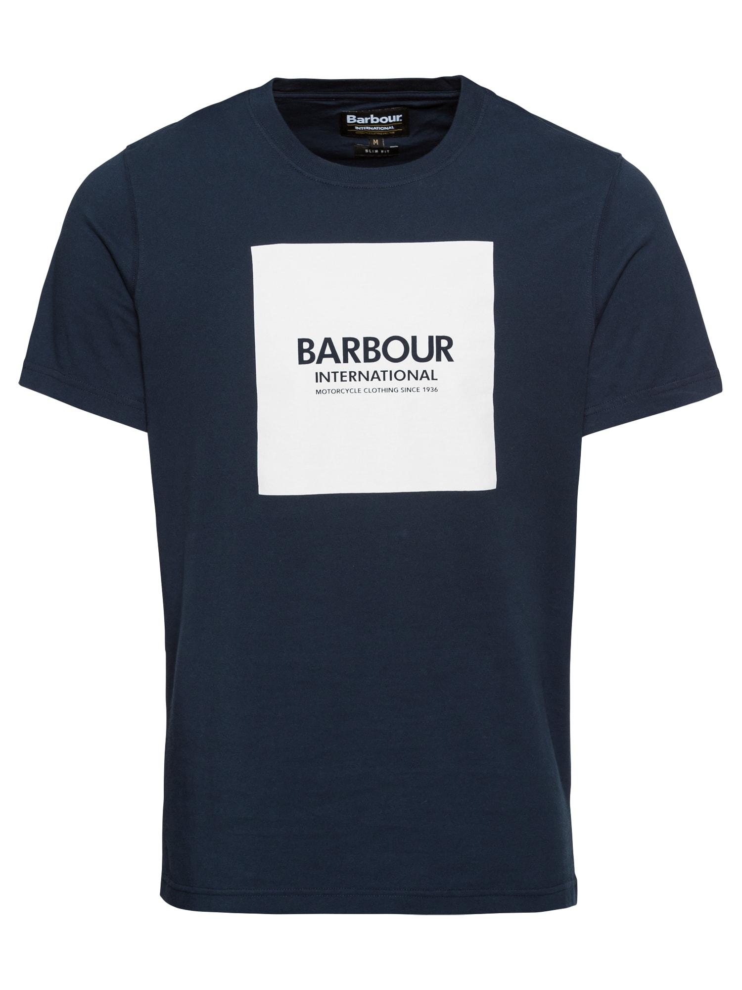 Barbour International Marškinėliai balta / tamsiai mėlyna