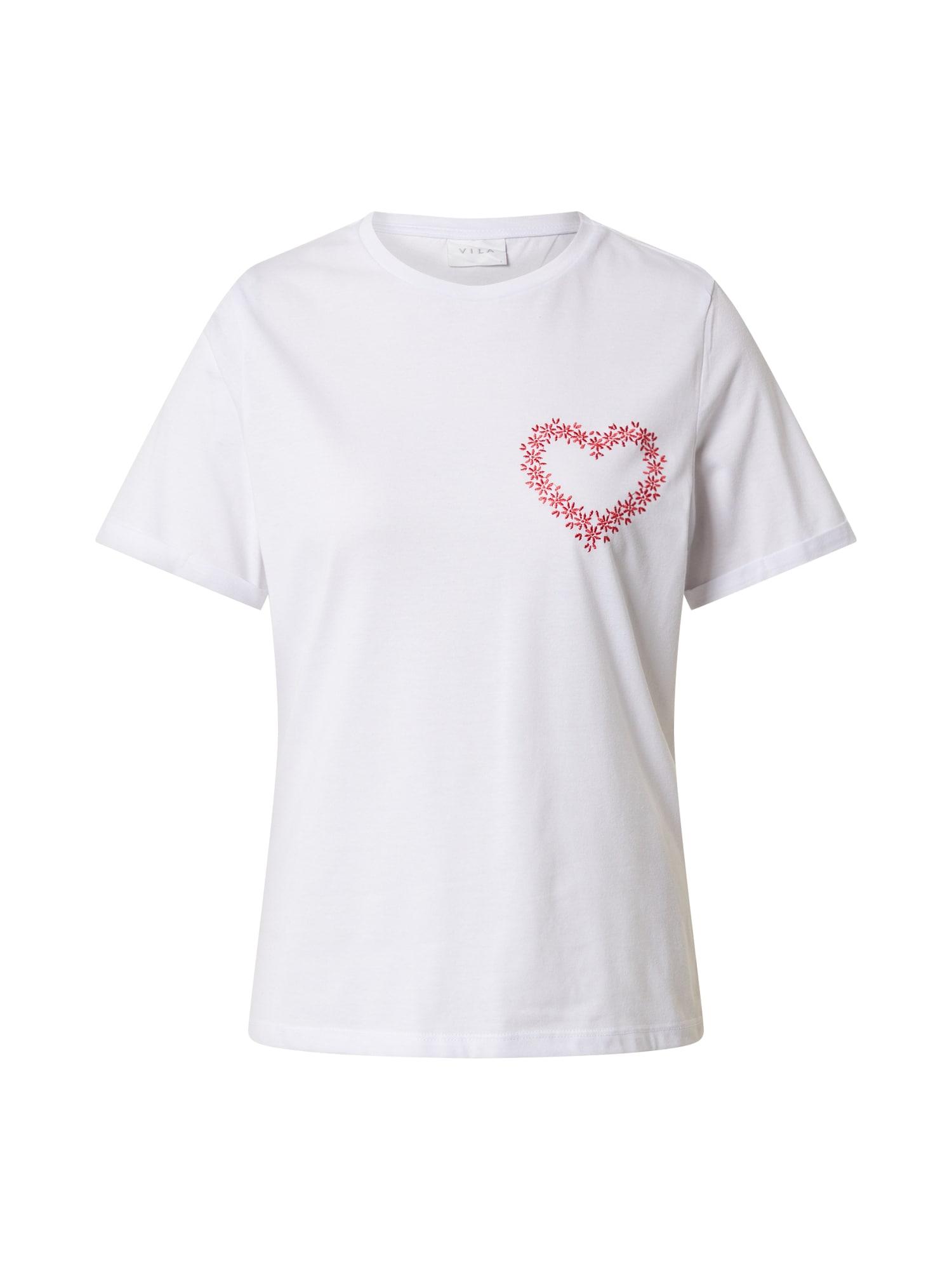 VILA Tričko 'VIJULINE'  červené / biela