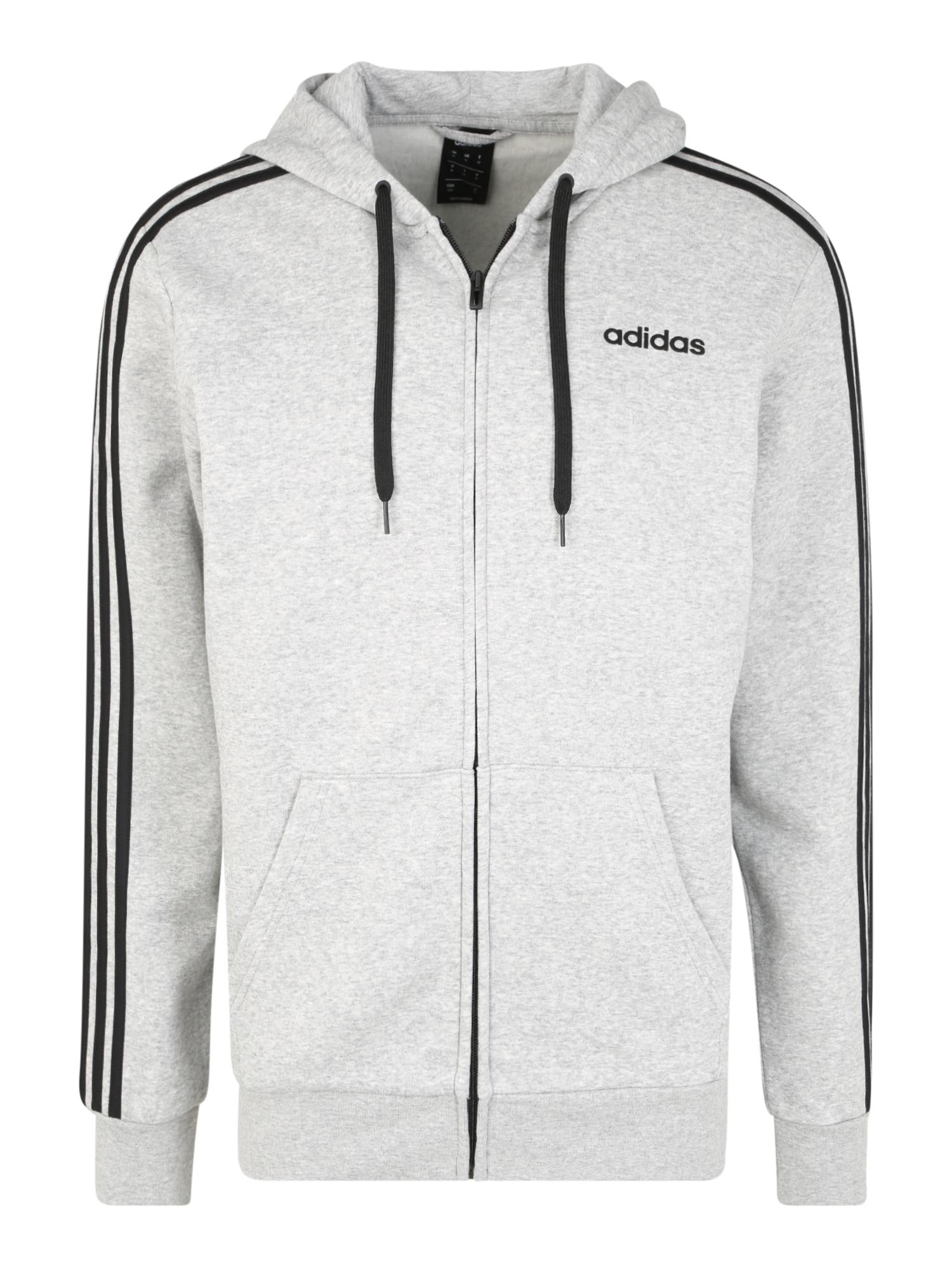 ADIDAS PERFORMANCE Sportinis džemperis 'E 3S FZ FL' juoda / šviesiai pilka