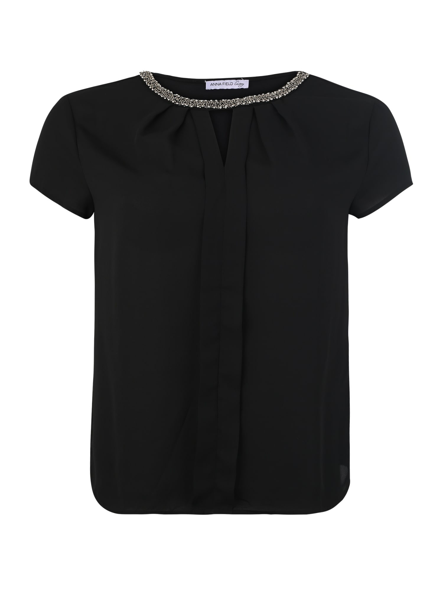 Tričko Pleated woven front t-shirt černá Anna Field Curvy