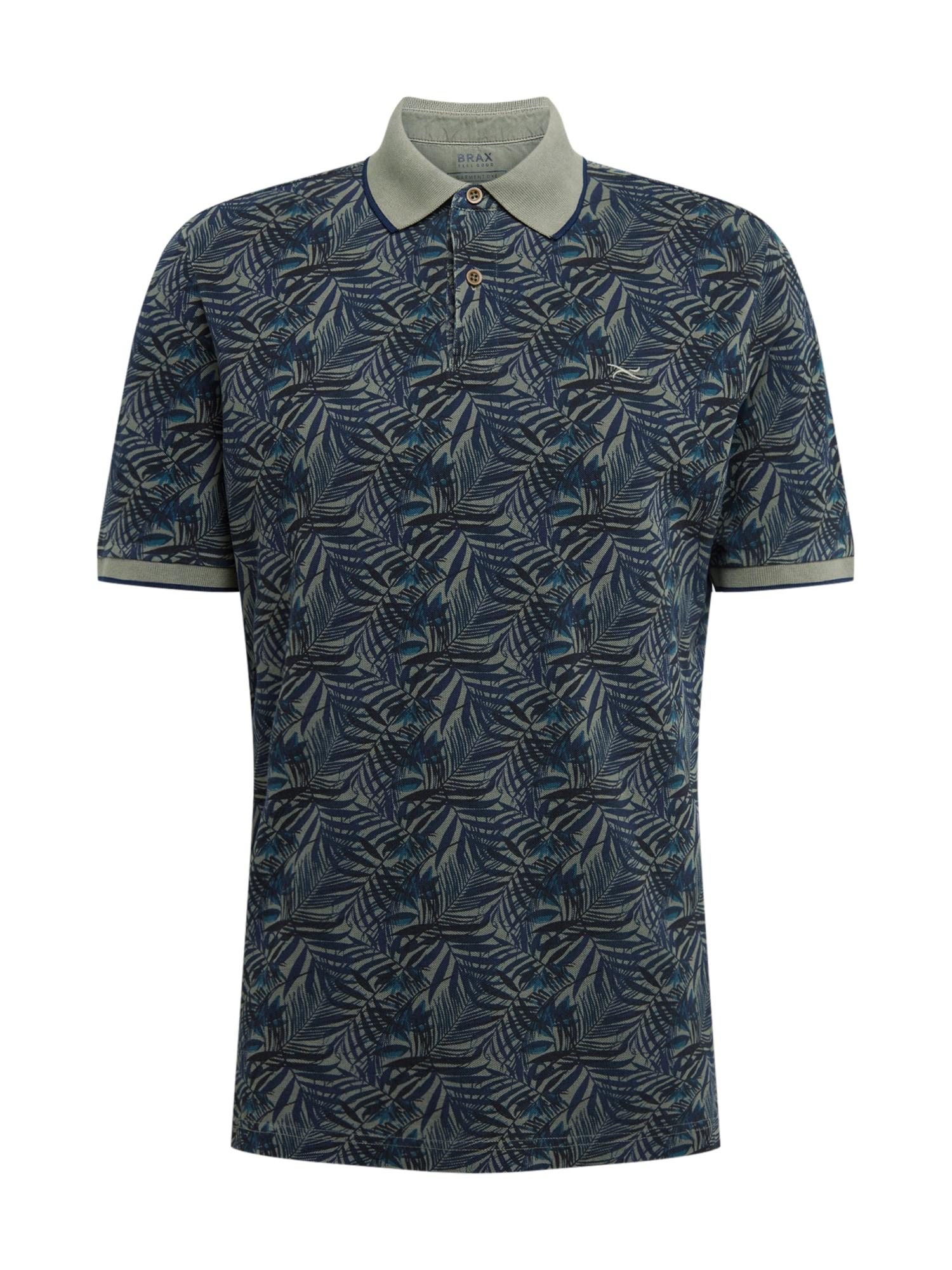 BRAX Marškinėliai 'Pietro' alyvuogių spalva / mėlyna