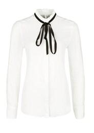 Q/S Designed By Damen Stehkragen-Bluse mit Schleife schwarz,weiß   04056523386813