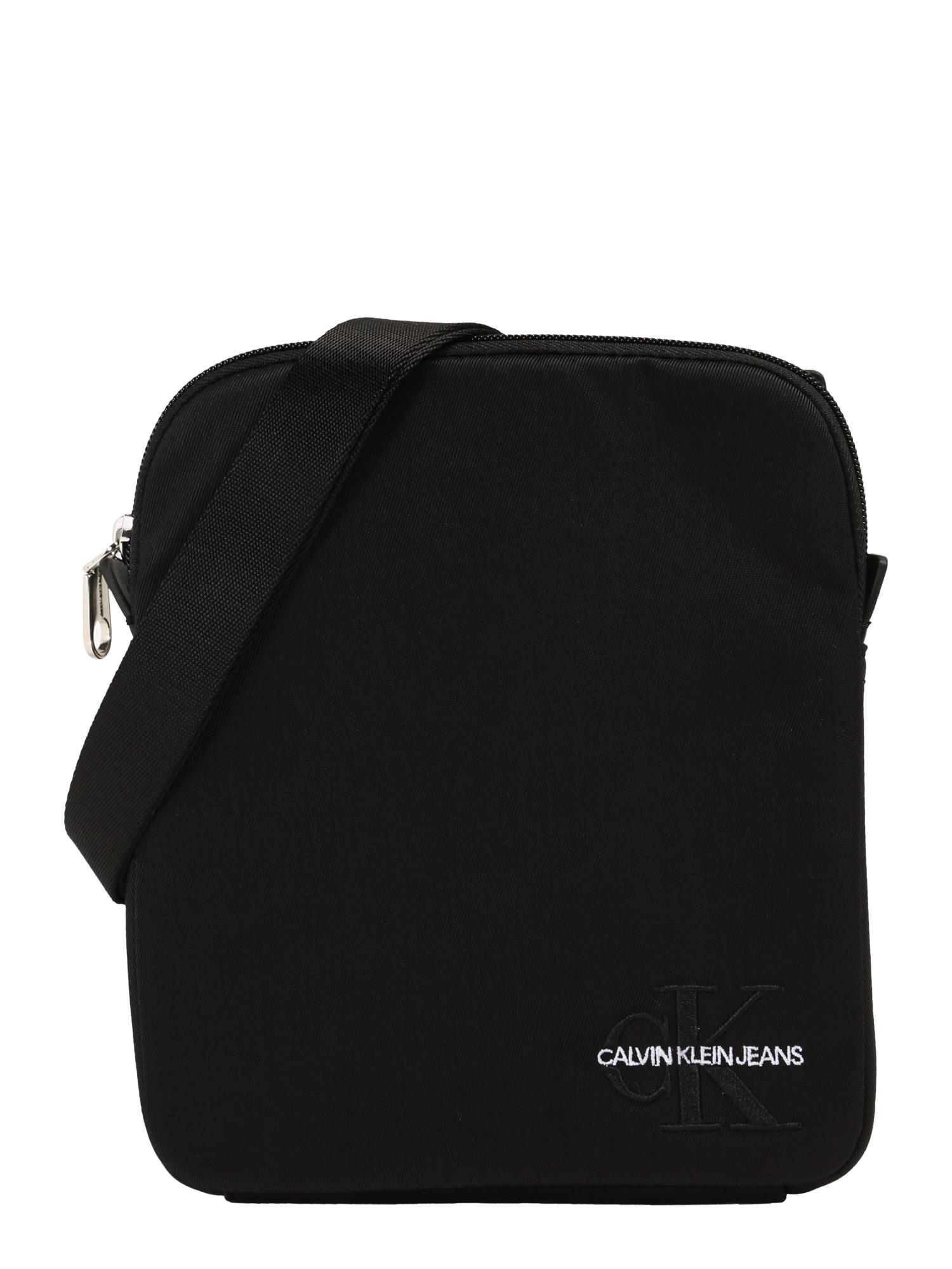 Calvin Klein Jeans Rankinė su ilgu dirželiu 'MONOGRAM NYLON MICRO FP' juoda