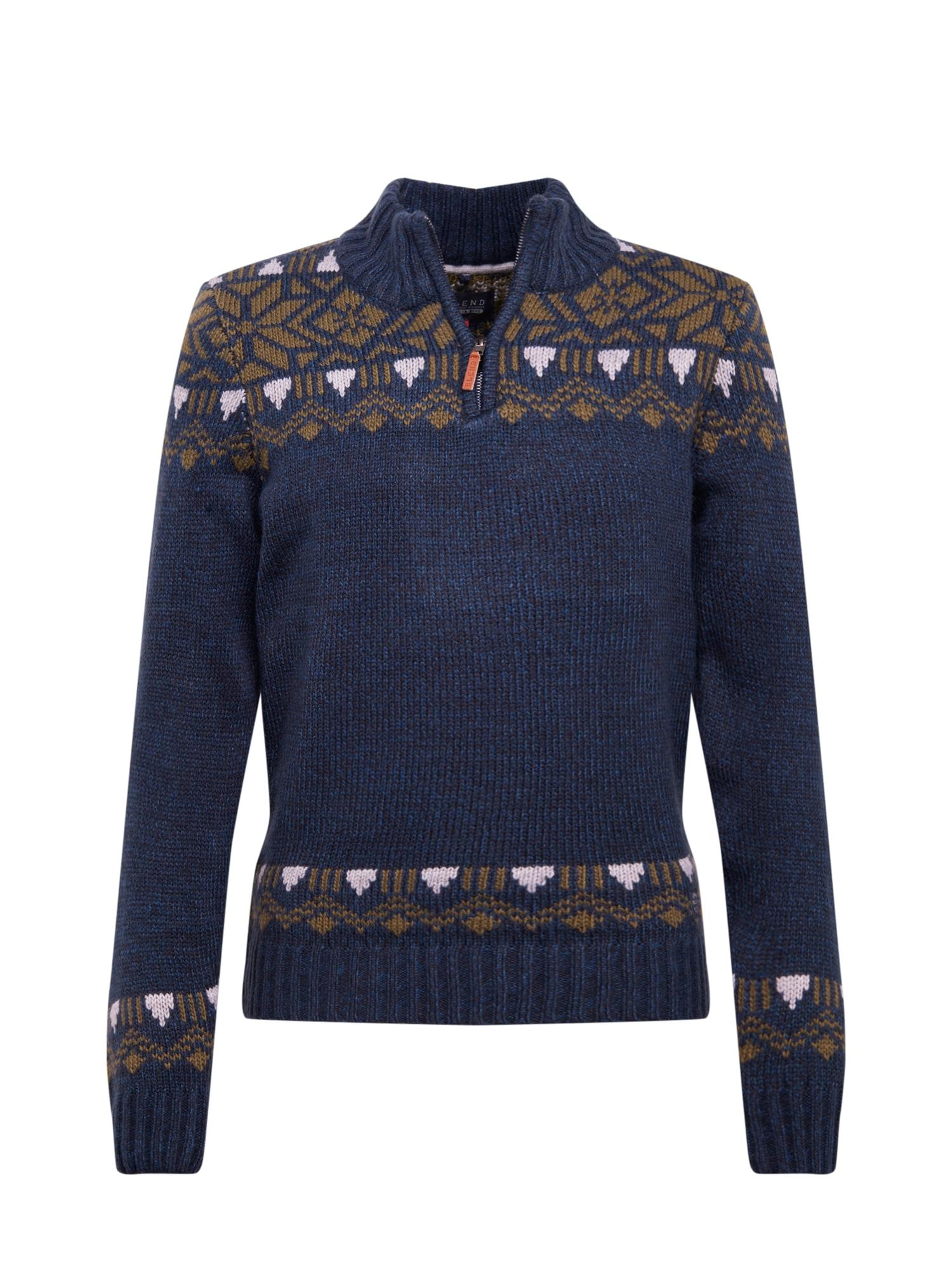 BLEND Megztinis balta / tamsiai mėlyna / šviesiai ruda