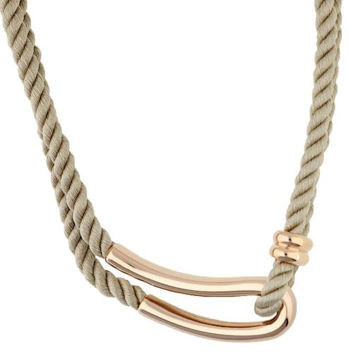 Ketten für Frauen - JOOP! Halskette aus geflochtenem Textil JPNL10593D420 hellbeige rosegold  - Onlineshop ABOUT YOU
